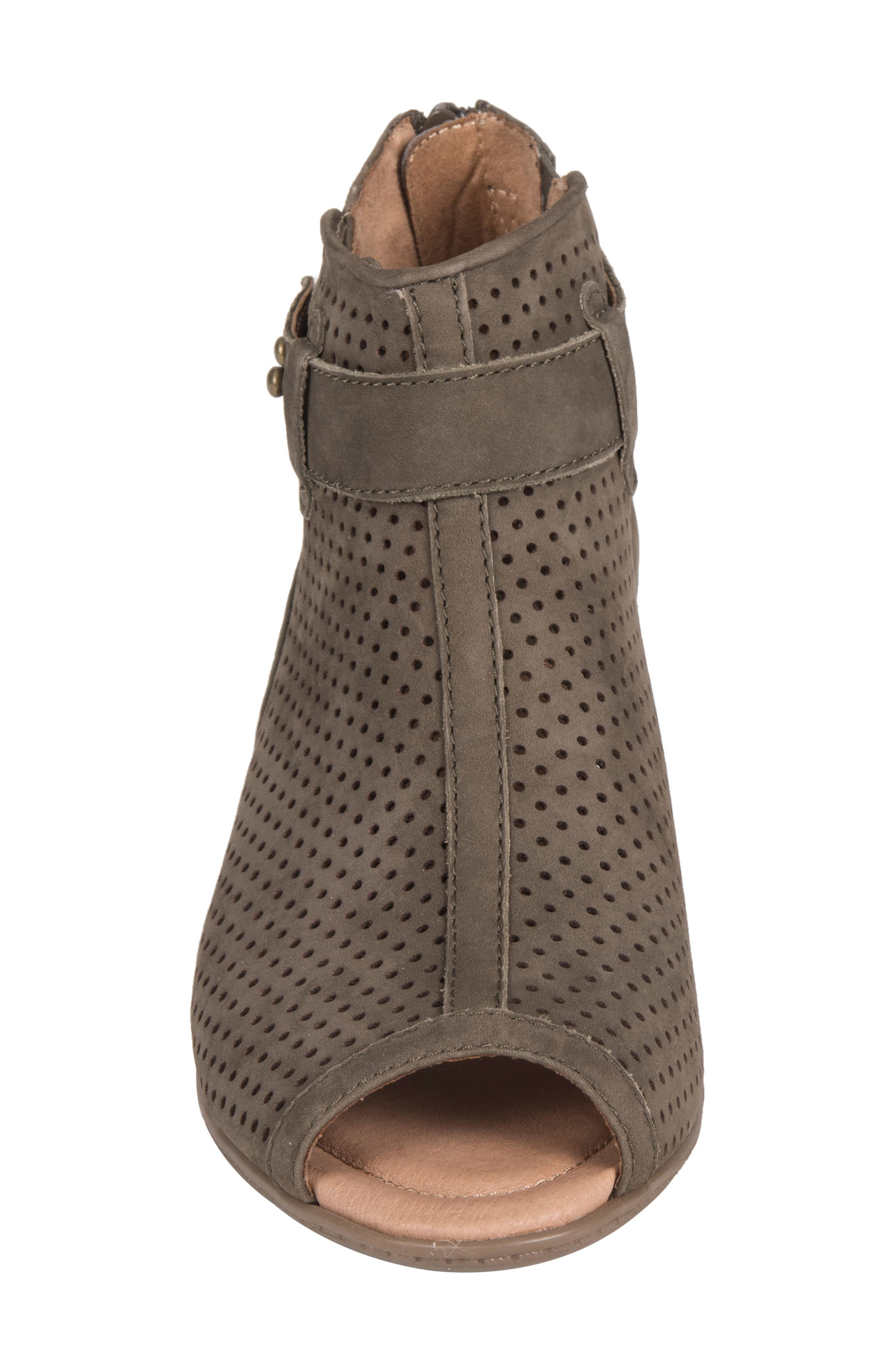 Intrepid Peep Toe Bootie,                             Alternate thumbnail 4, color,                             DARK OLIVE NUBUCK