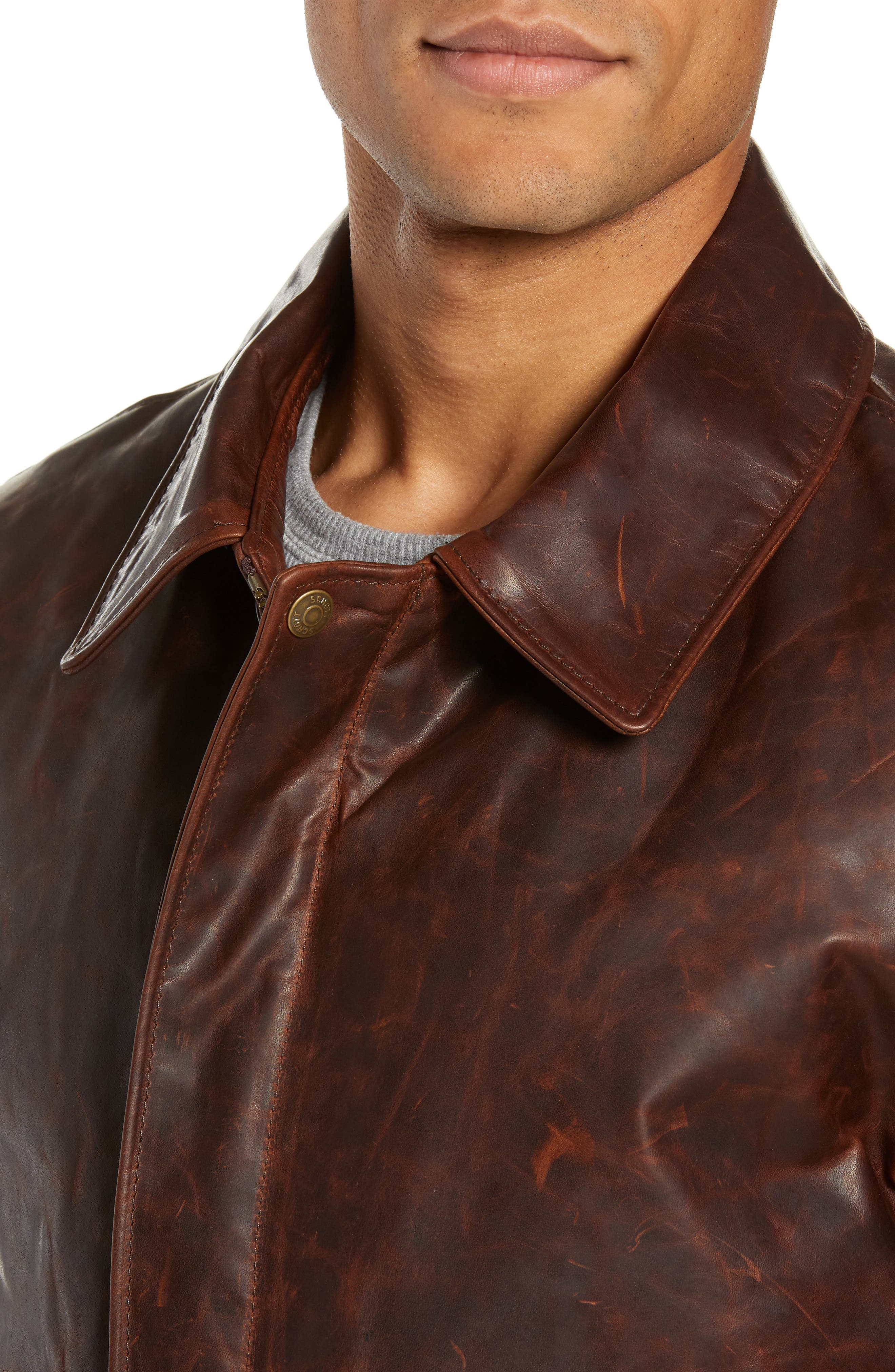 Vintage Oiled Cowhide Leather Flight Jacket,                             Alternate thumbnail 4, color,                             200