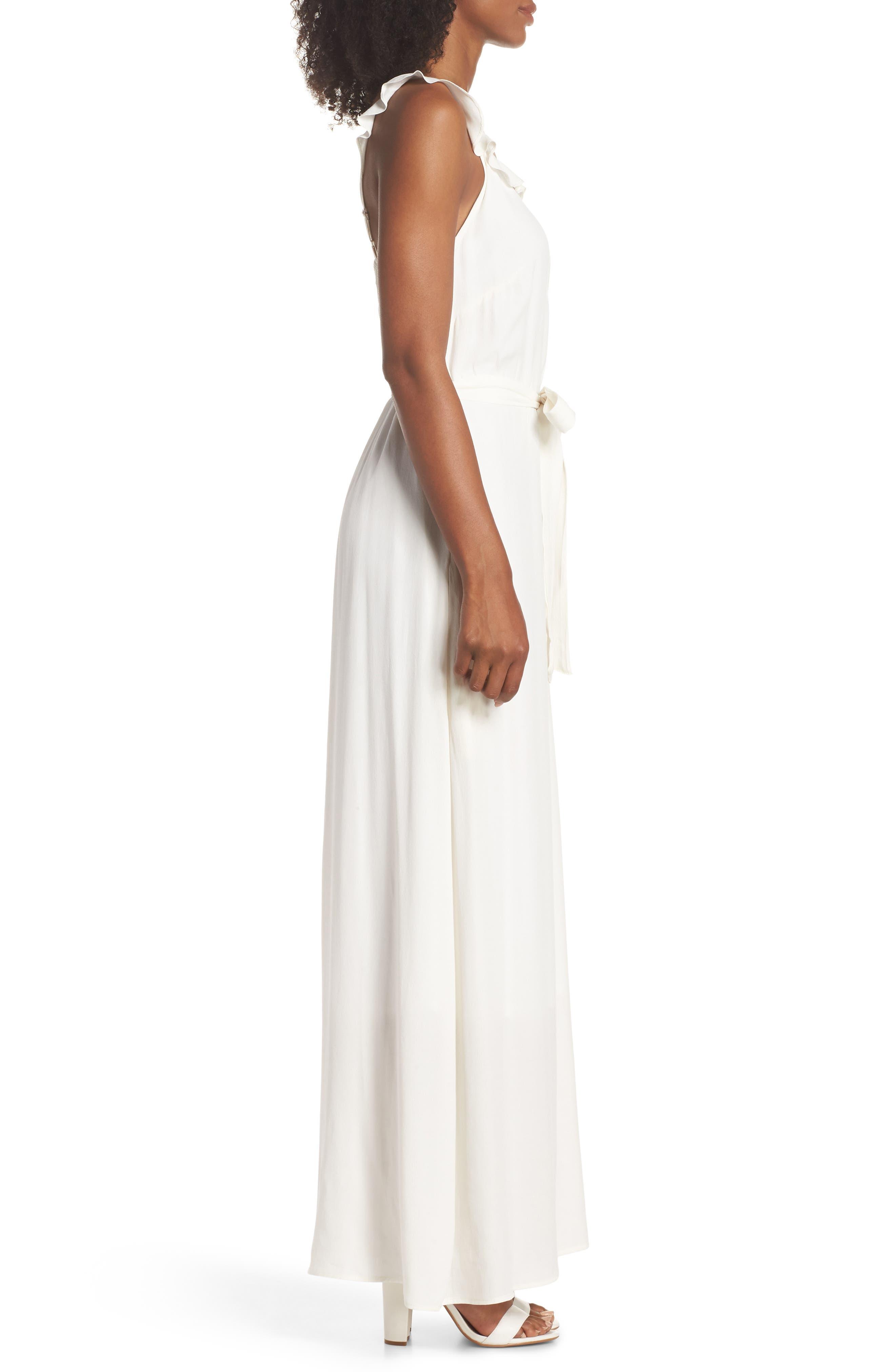 Ruffle Neck Maxi Dress,                             Alternate thumbnail 3, color,                             IVORY