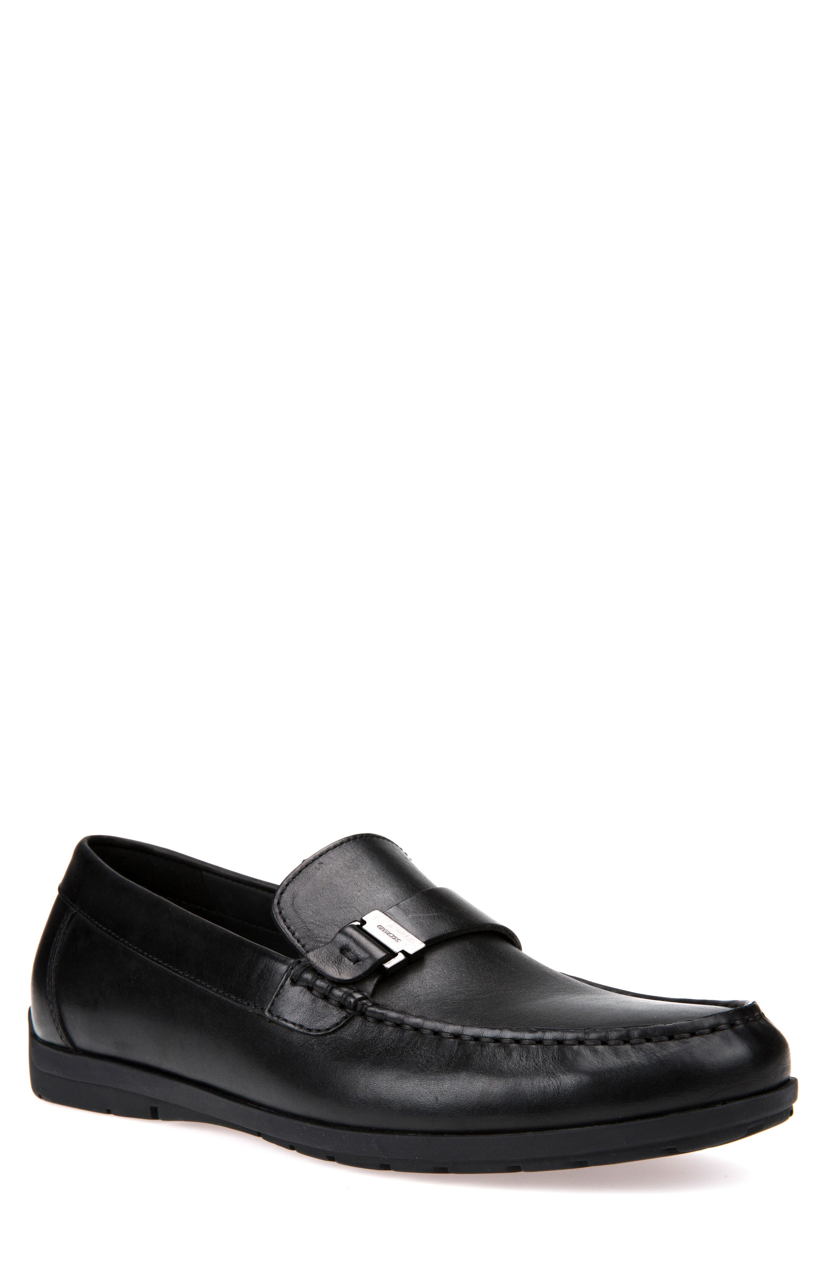 Siron W 1 Moc Toe Loafer,                             Main thumbnail 1, color,                             BLACK LEATHER