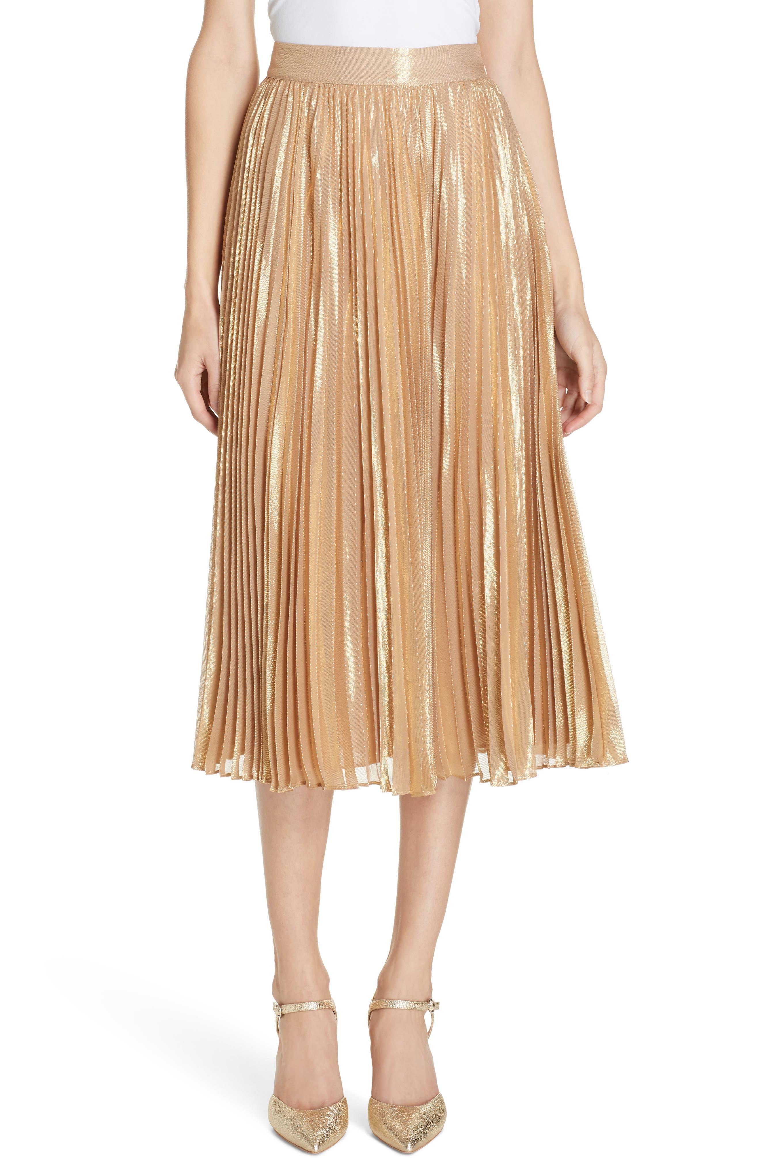 pleat metallic pleat midi skirt,                             Main thumbnail 1, color,                             ROASTED PEANUT