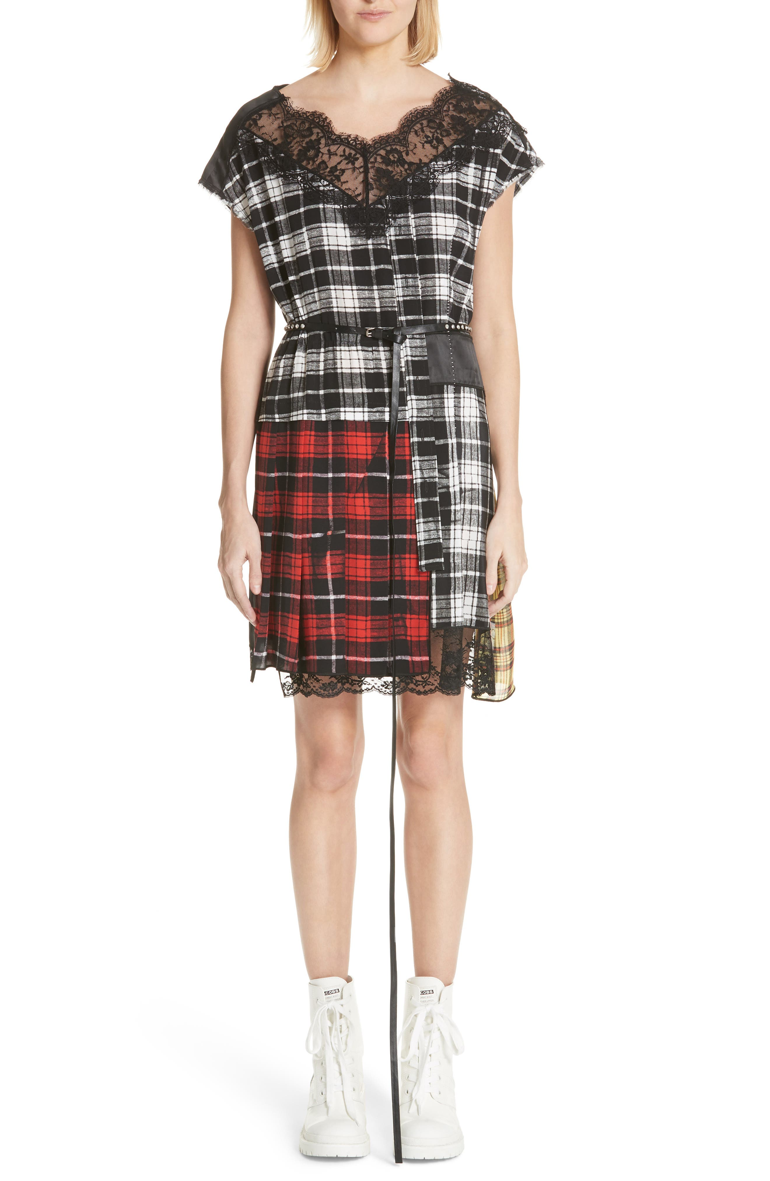 Marc Jacobs Lace Trim Plaid Silk Dress, White