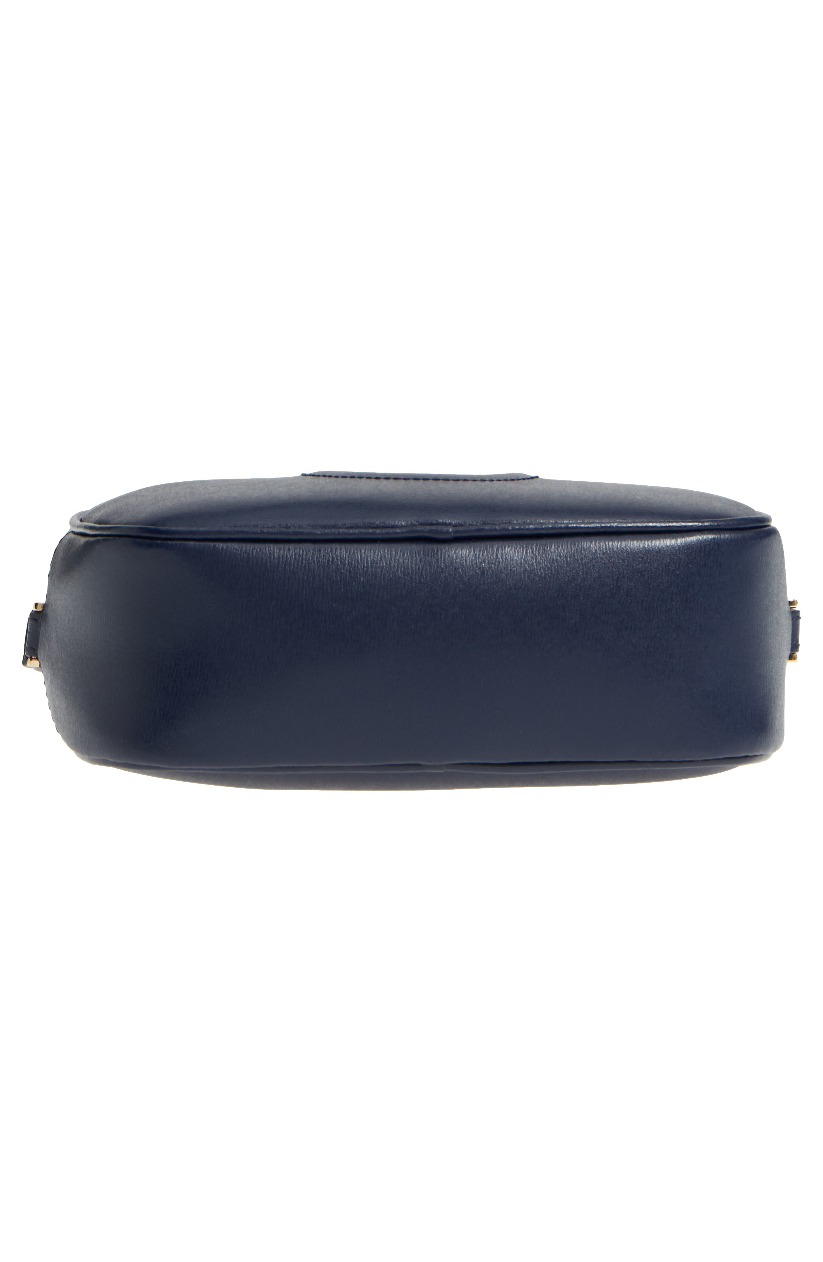 Gancio Metallic Leather Camera Bag,                             Alternate thumbnail 6, color,                             NAVY