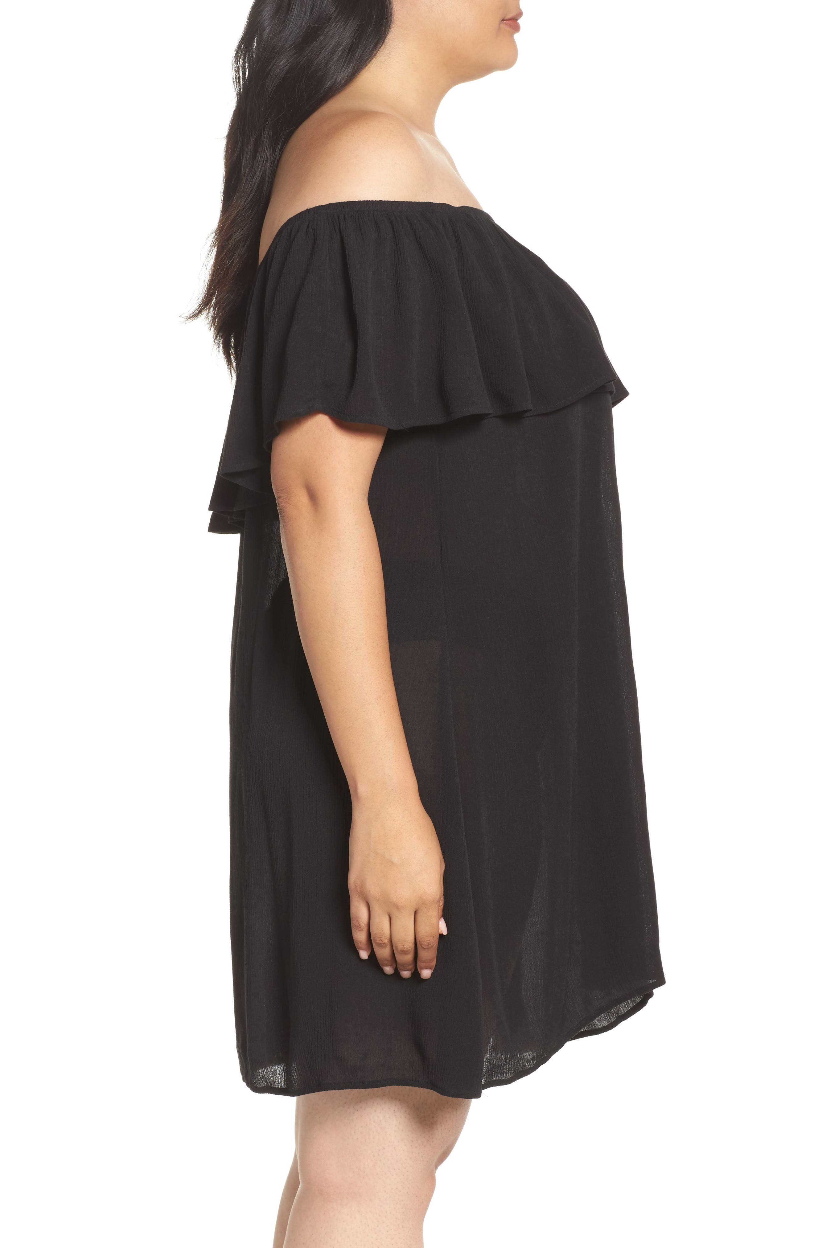 Southern Belle Off the Shoulder Cover-Up Dress,                             Alternate thumbnail 3, color,                             001