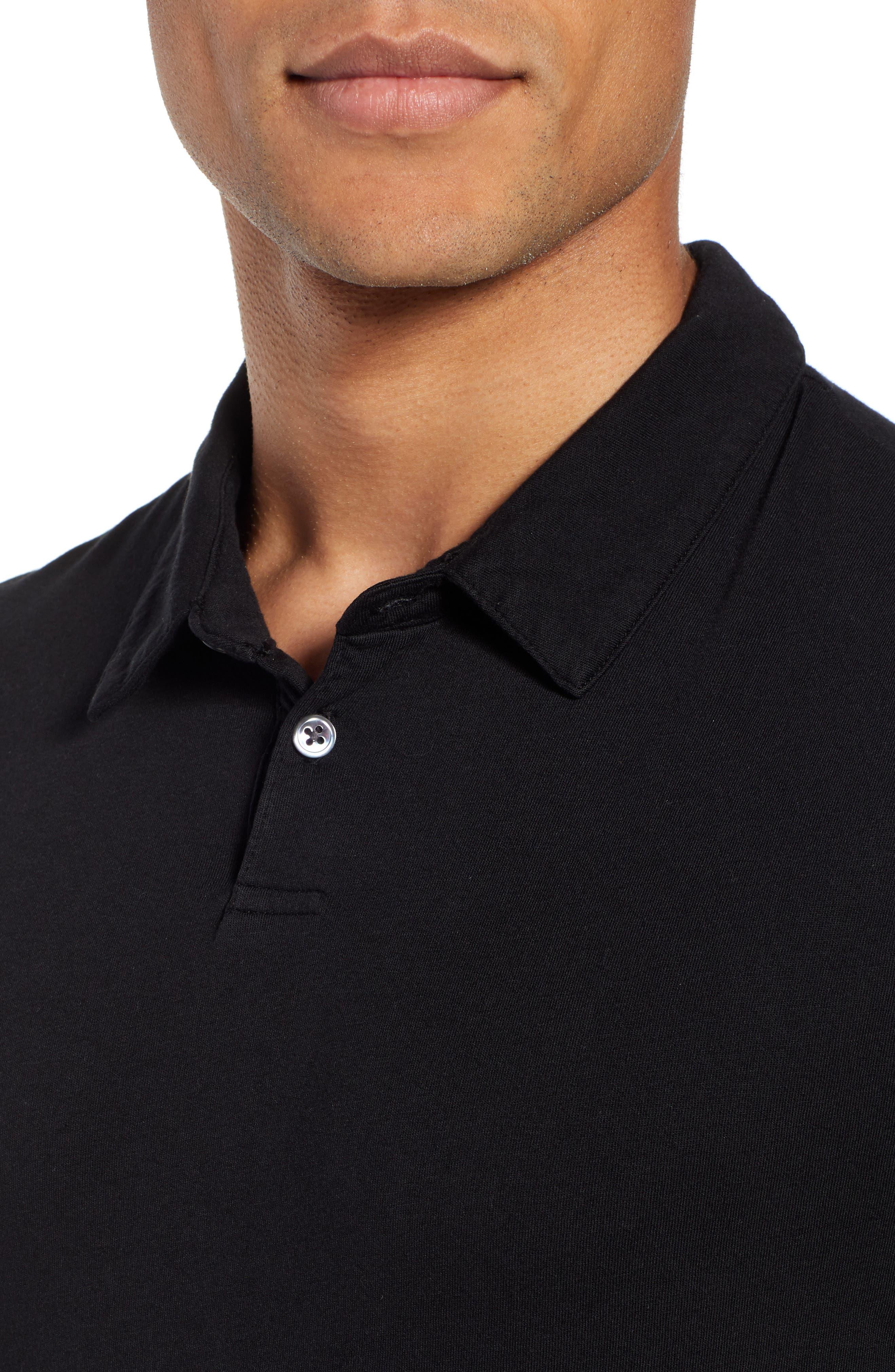 Regular Fit Jersey Polo,                             Alternate thumbnail 4, color,                             BLACK