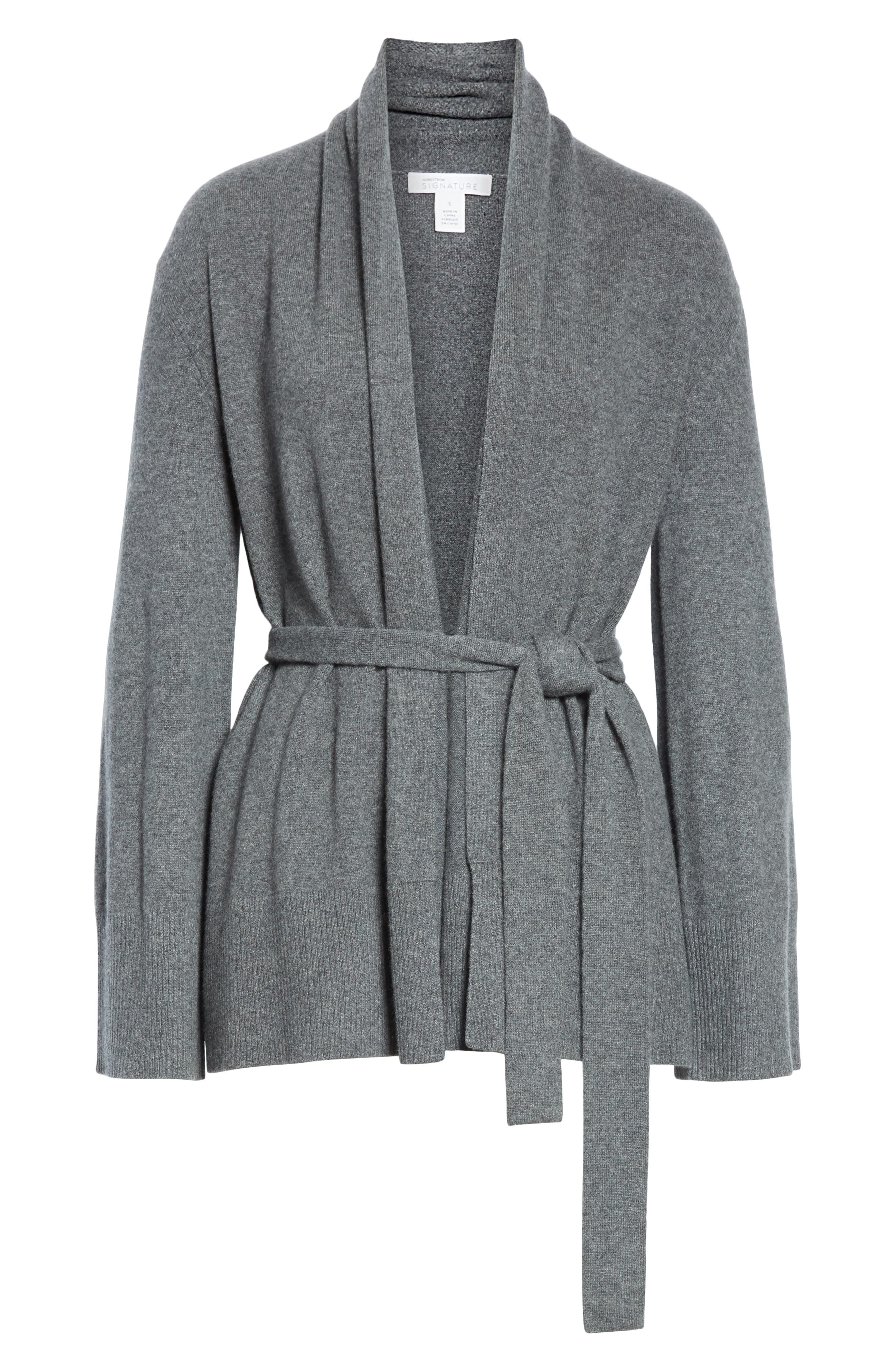 Belted Cashmere Blend Cardigan,                             Alternate thumbnail 6, color,                             GREY PEARL HEATHER