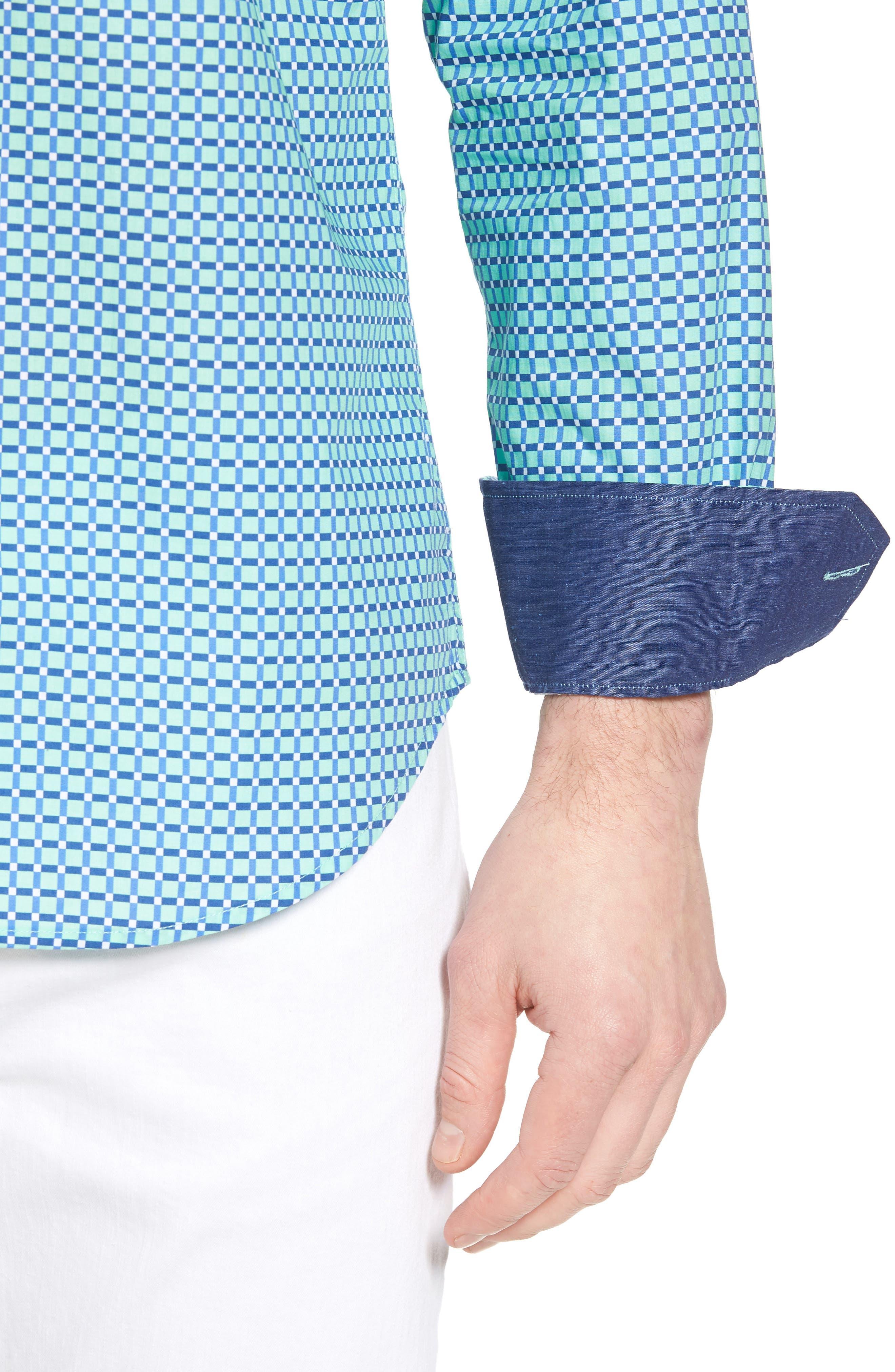Shaped Fit Print Sport Shirt,                             Alternate thumbnail 18, color,