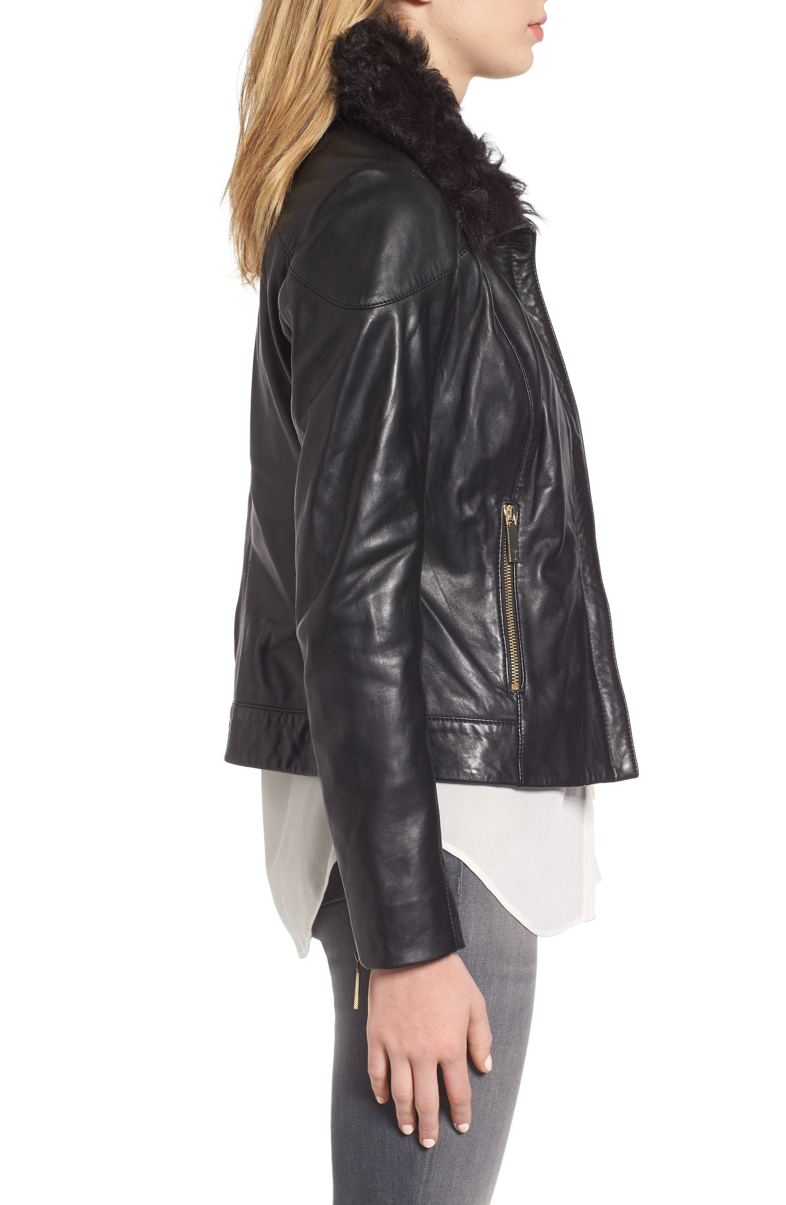 Leather Jacket with Detachable Genuine Shearling,                             Alternate thumbnail 3, color,                             001