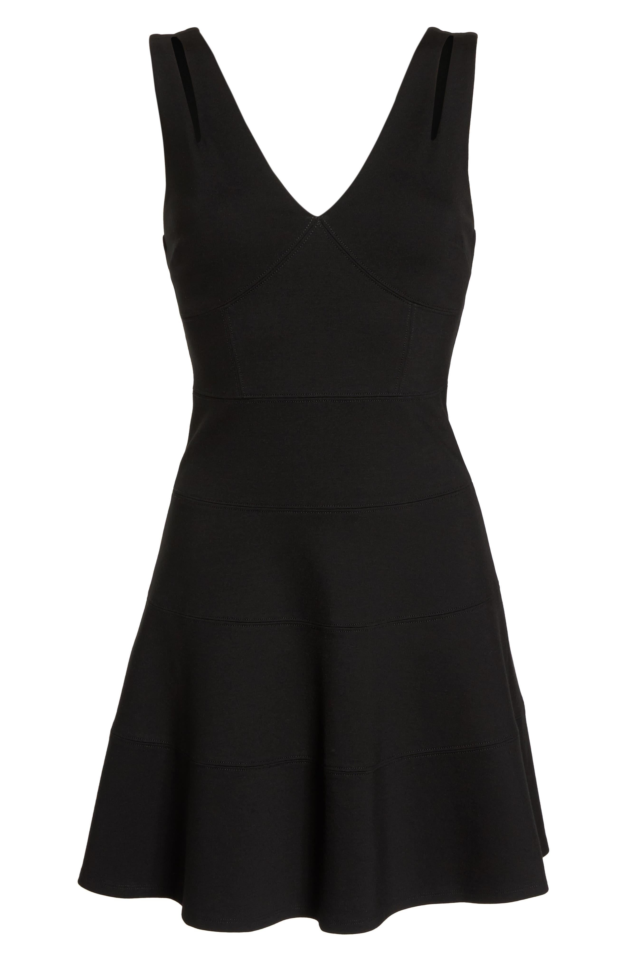 Cutout Strap Fit & Flare Dress,                             Alternate thumbnail 7, color,                             001