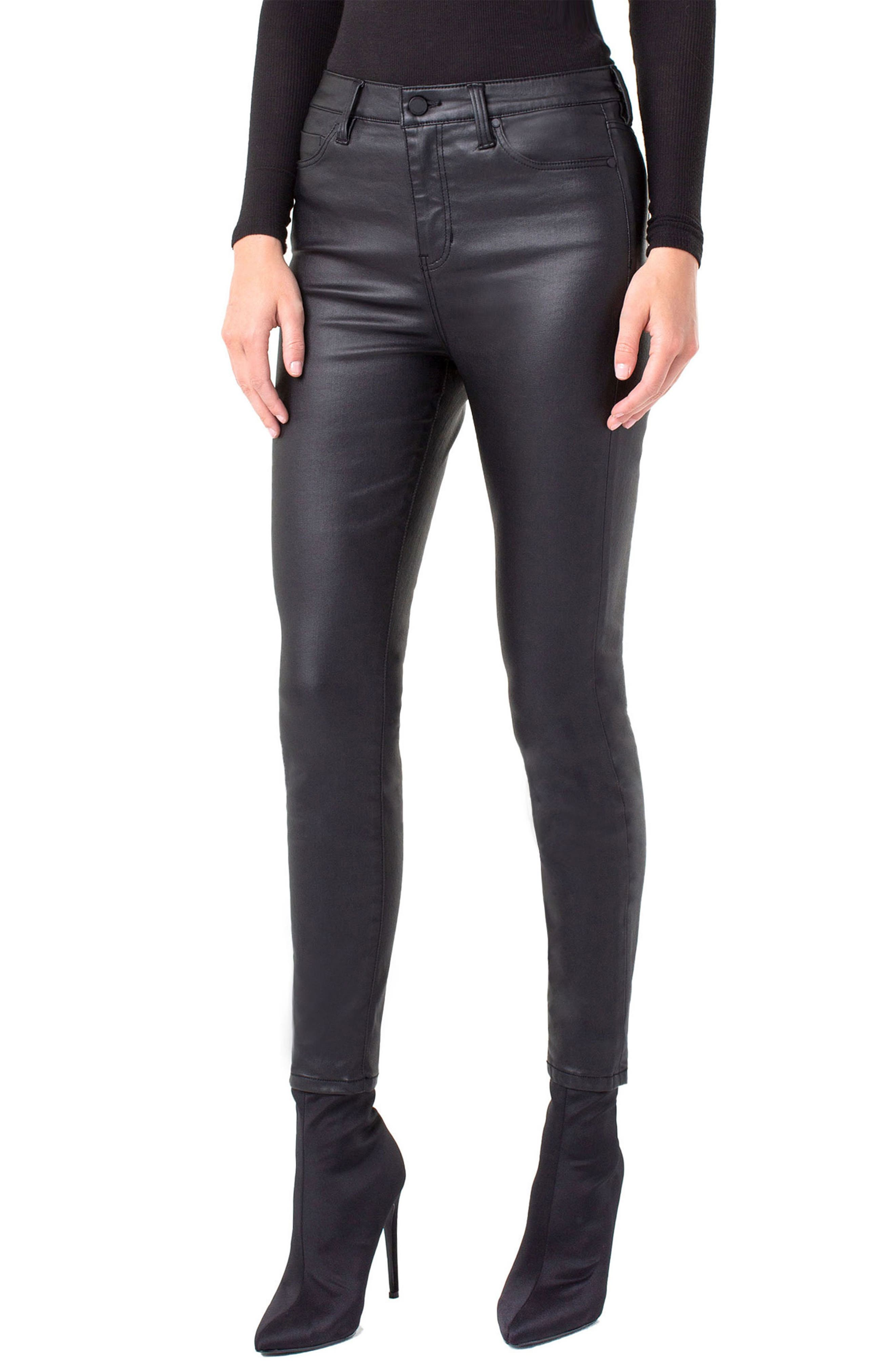 LIVERPOOL Abby Faux-Leather Skinny Fit Ankle Pants in Black Coated