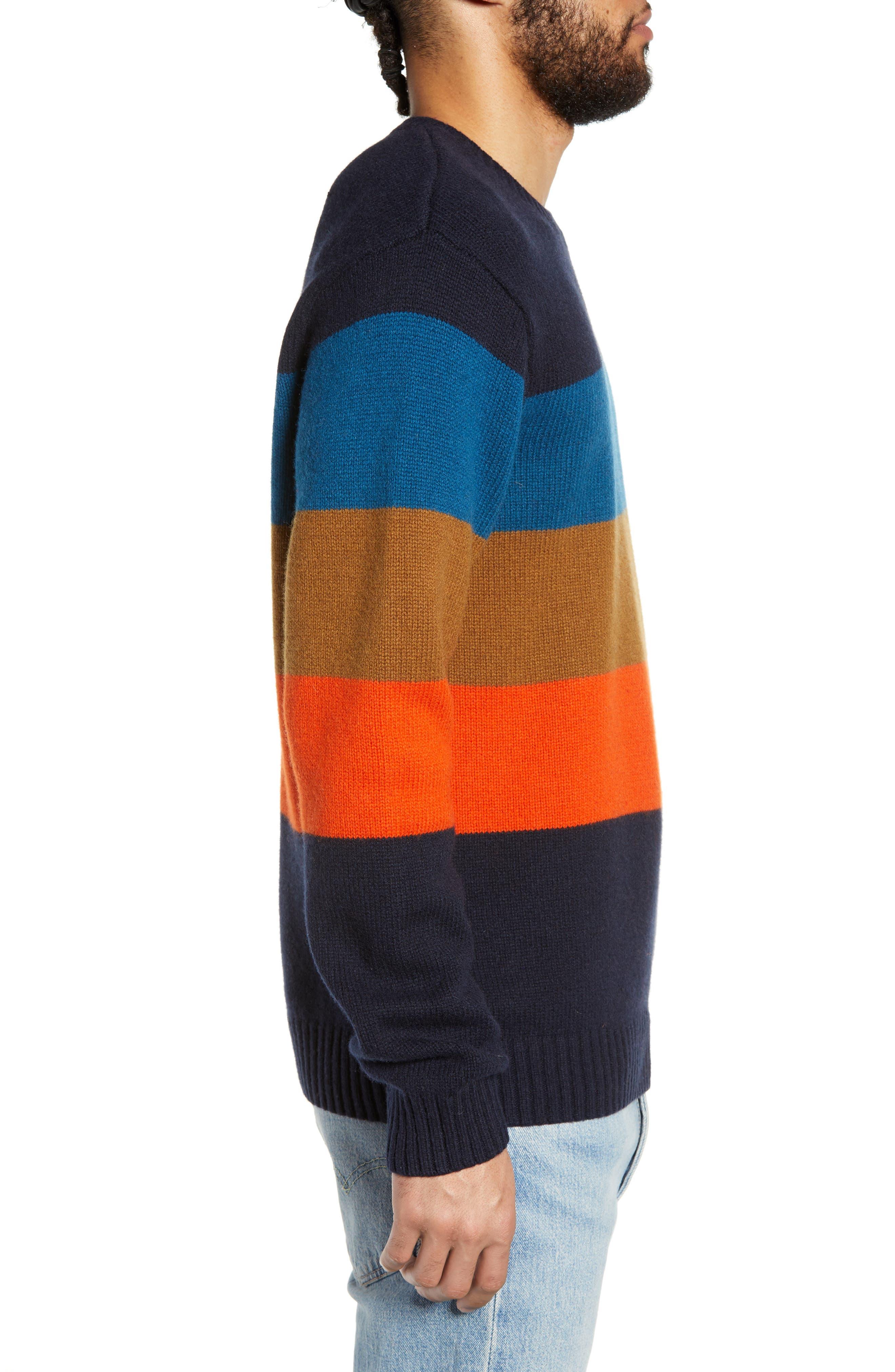 Goldner Stripe Wool Sweater,                             Alternate thumbnail 3, color,                             GOLD STRIPE DARK NAVY