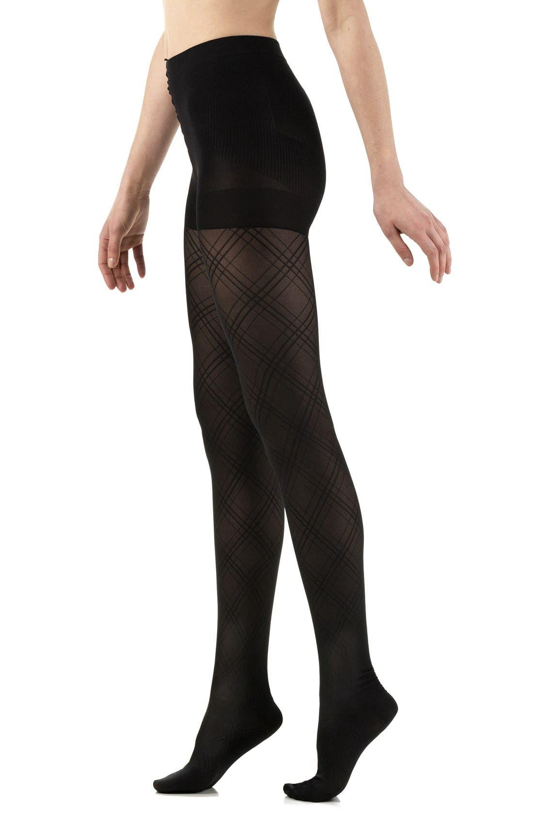 Opaque Argyle Compression Tights,                             Main thumbnail 1, color,                             001