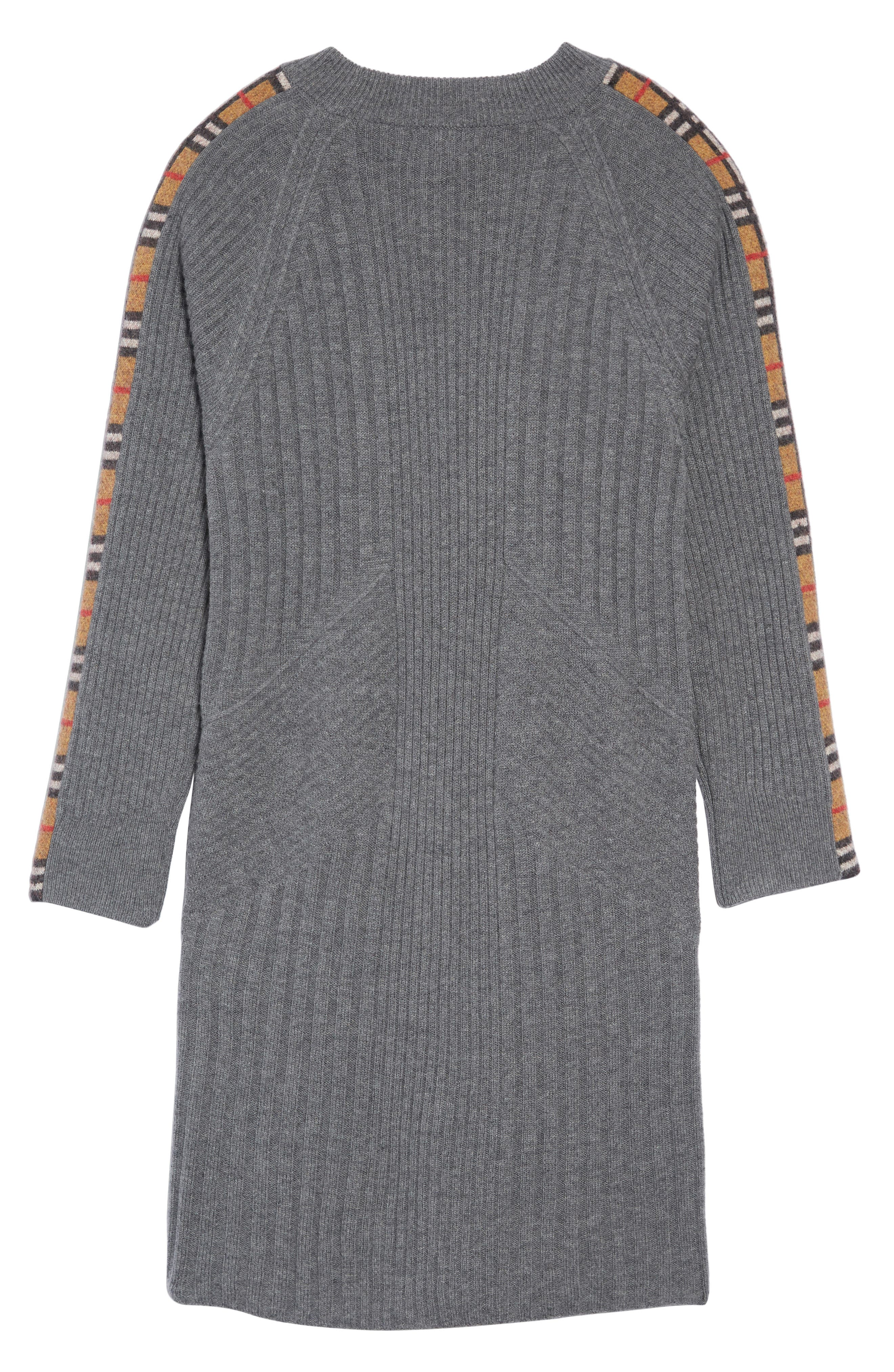 Kids Cathina Check Detail Wool & Cashmere Sweater Dress,                             Alternate thumbnail 2, color,                             MID GREY MELANGE