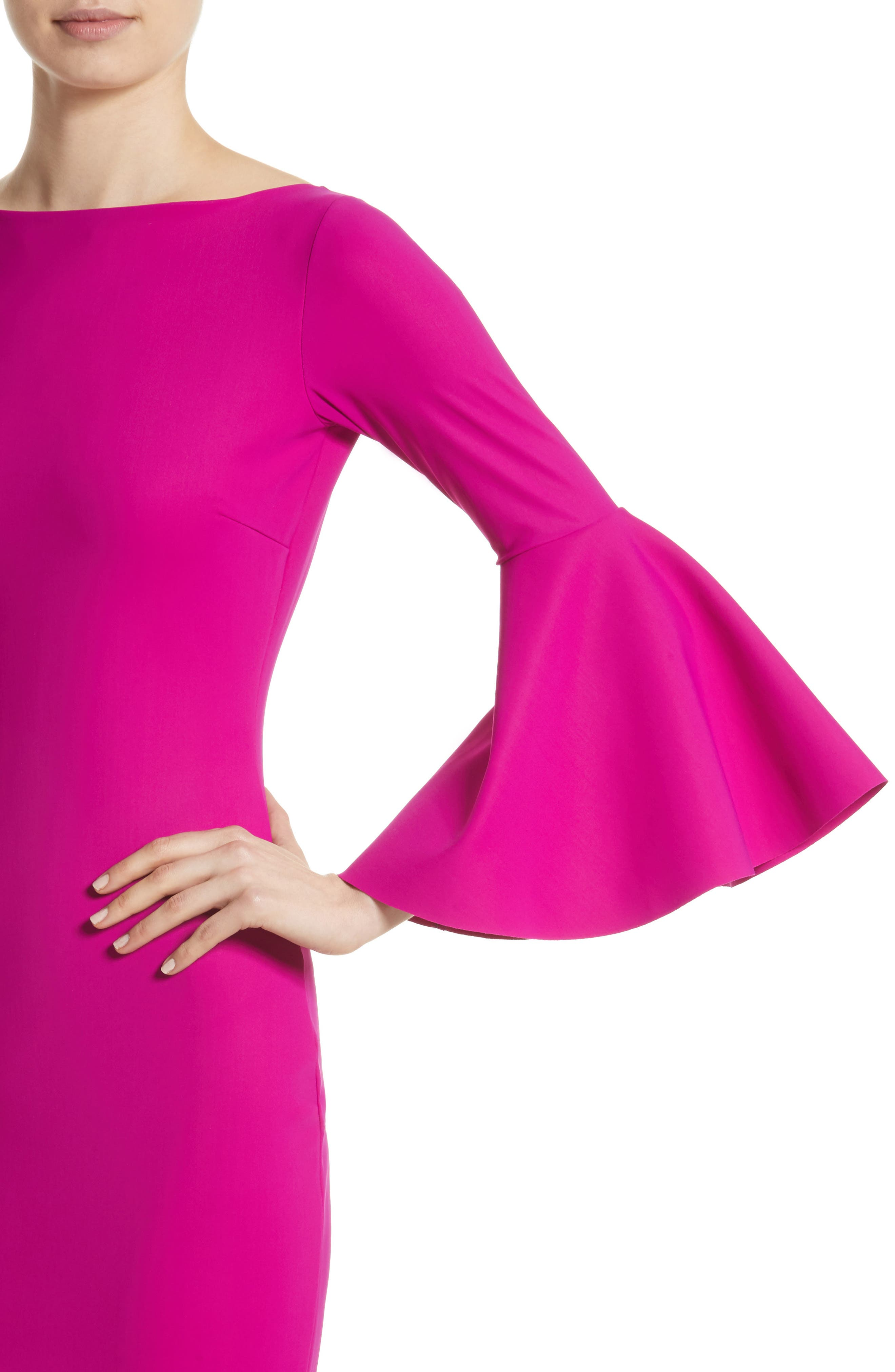 Iva Bell Sleeve Gown,                             Alternate thumbnail 4, color,                             CYCLAMEN/ MAGENTA
