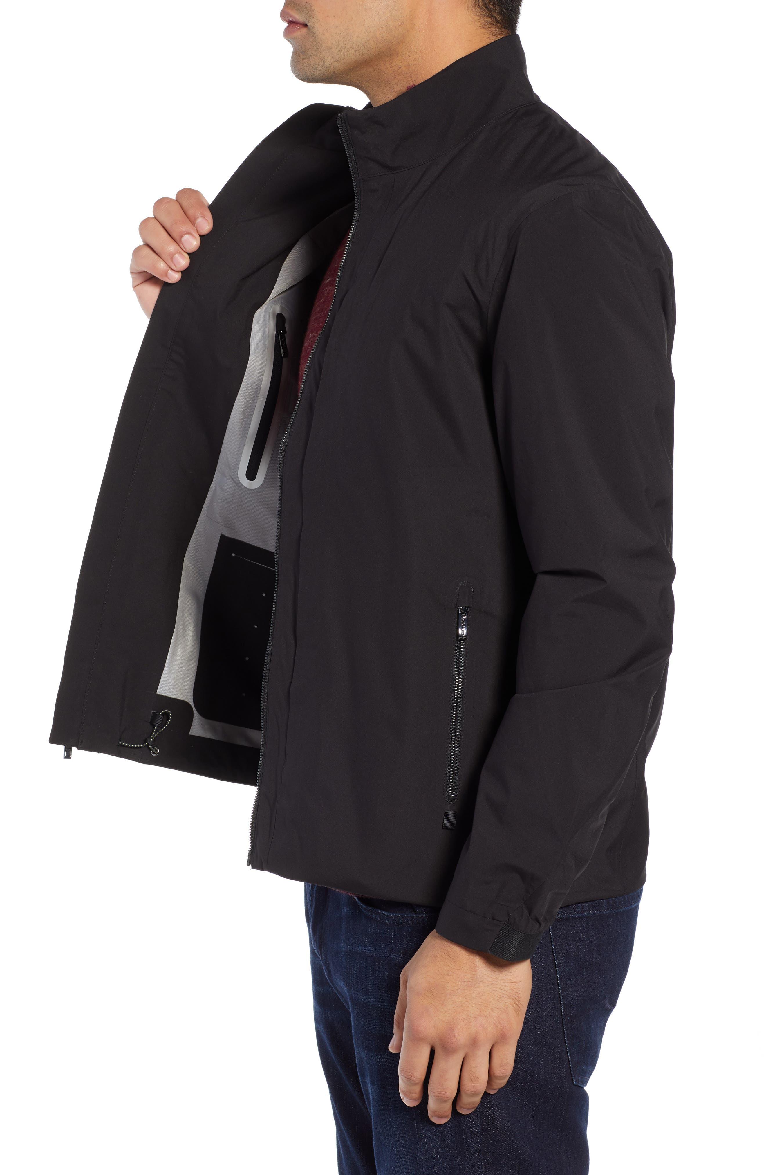 Mock Neck Jacket,                             Alternate thumbnail 3, color,                             BLACK