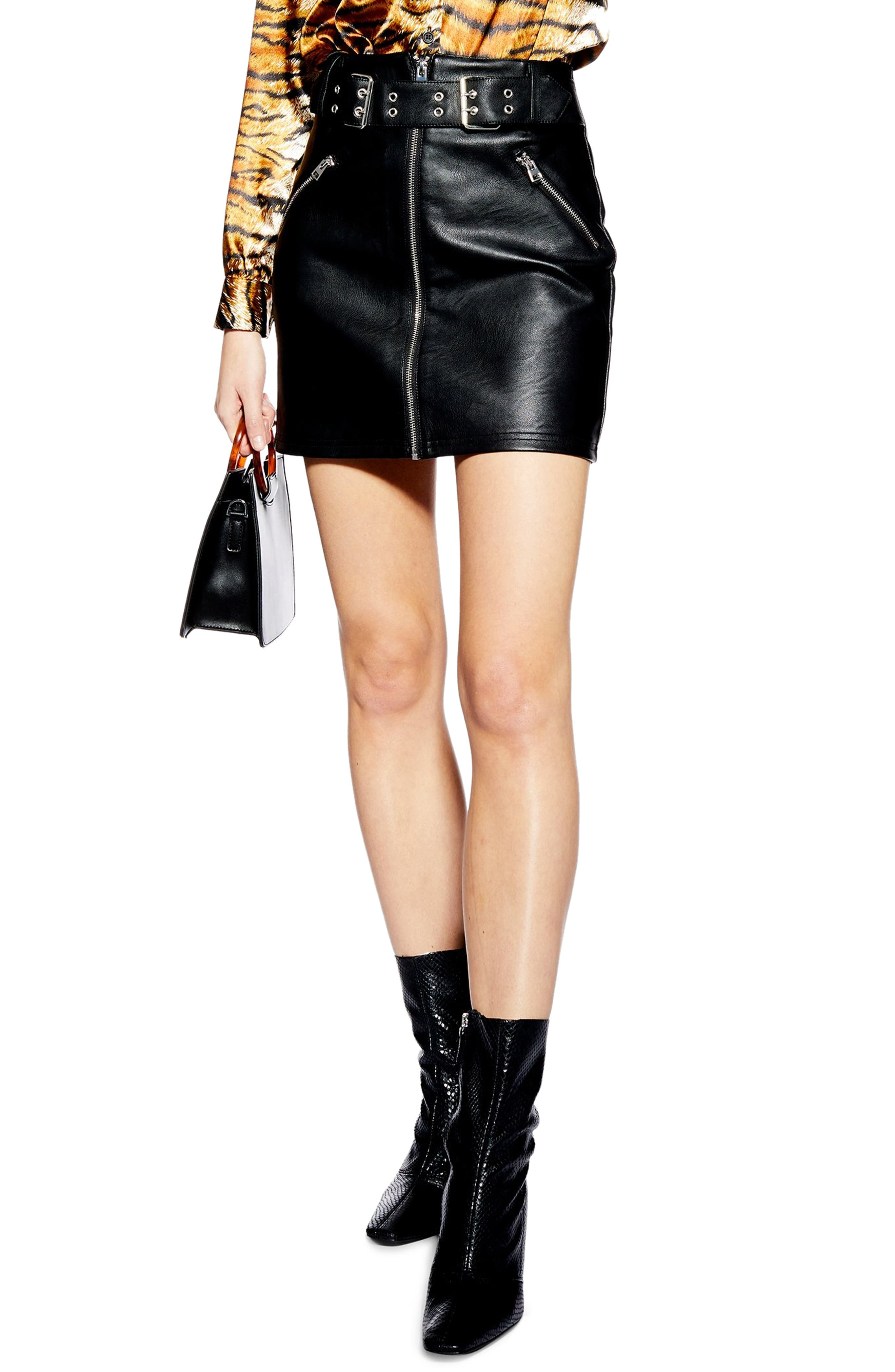 Petite Topshop Beatrix Faux Leather Miniskirt, P US (fits like 10-12P) - Black