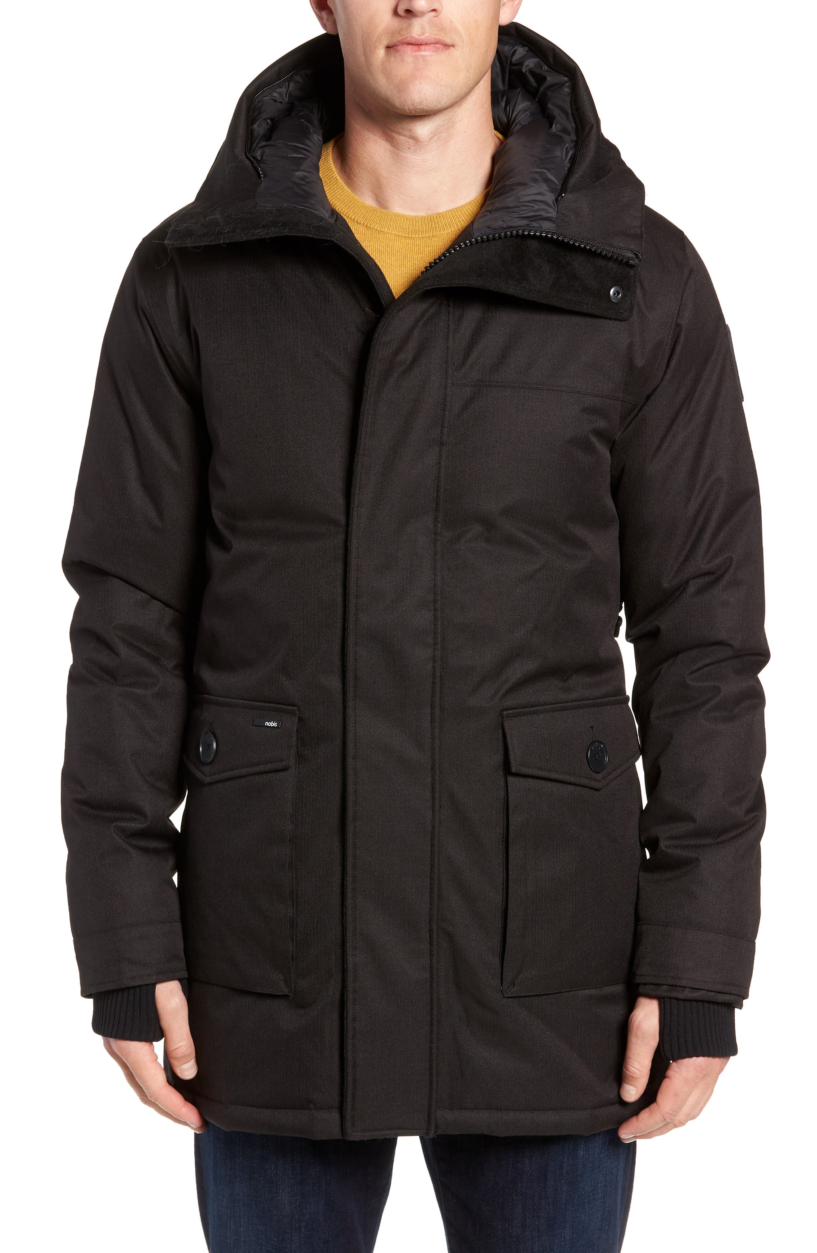 Yves Windproof & Waterproof 650 Fill Power Down Parka with Genuine Coyote Fur Trim,                             Alternate thumbnail 2, color,                             BLACK