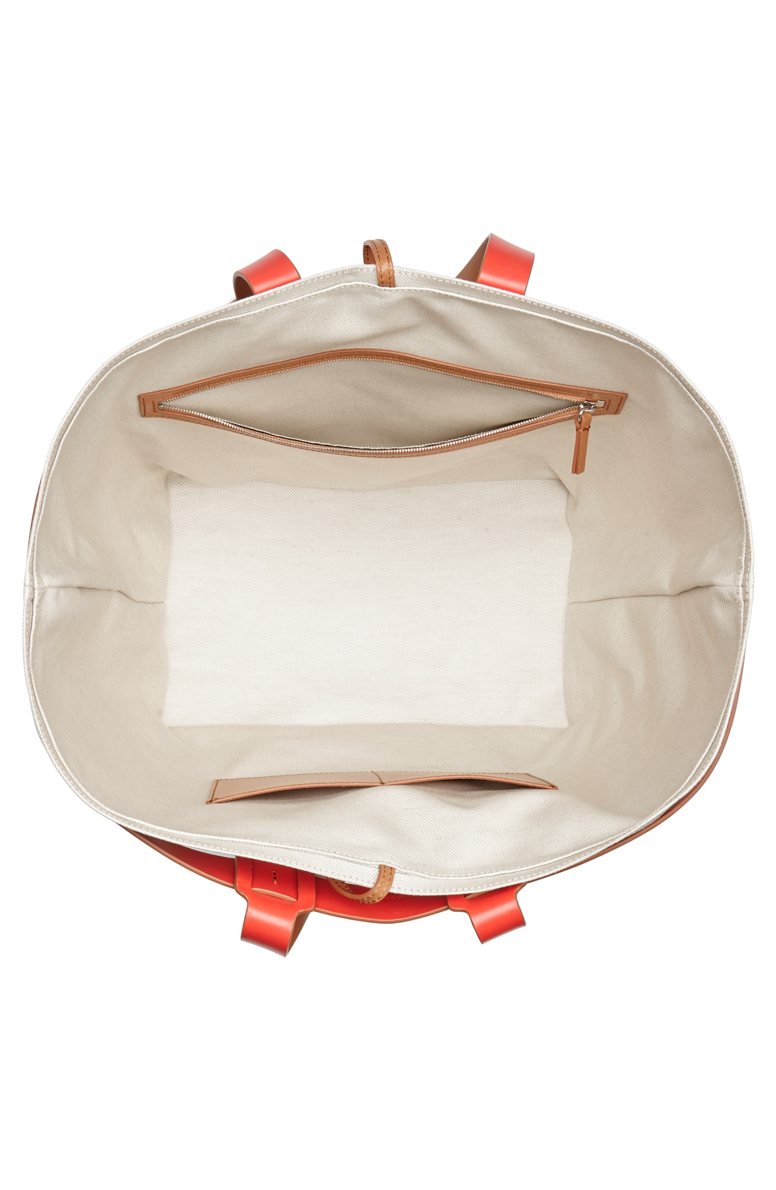 Cage Leather & Canvas Tote,                             Alternate thumbnail 4, color,                             CAMEL