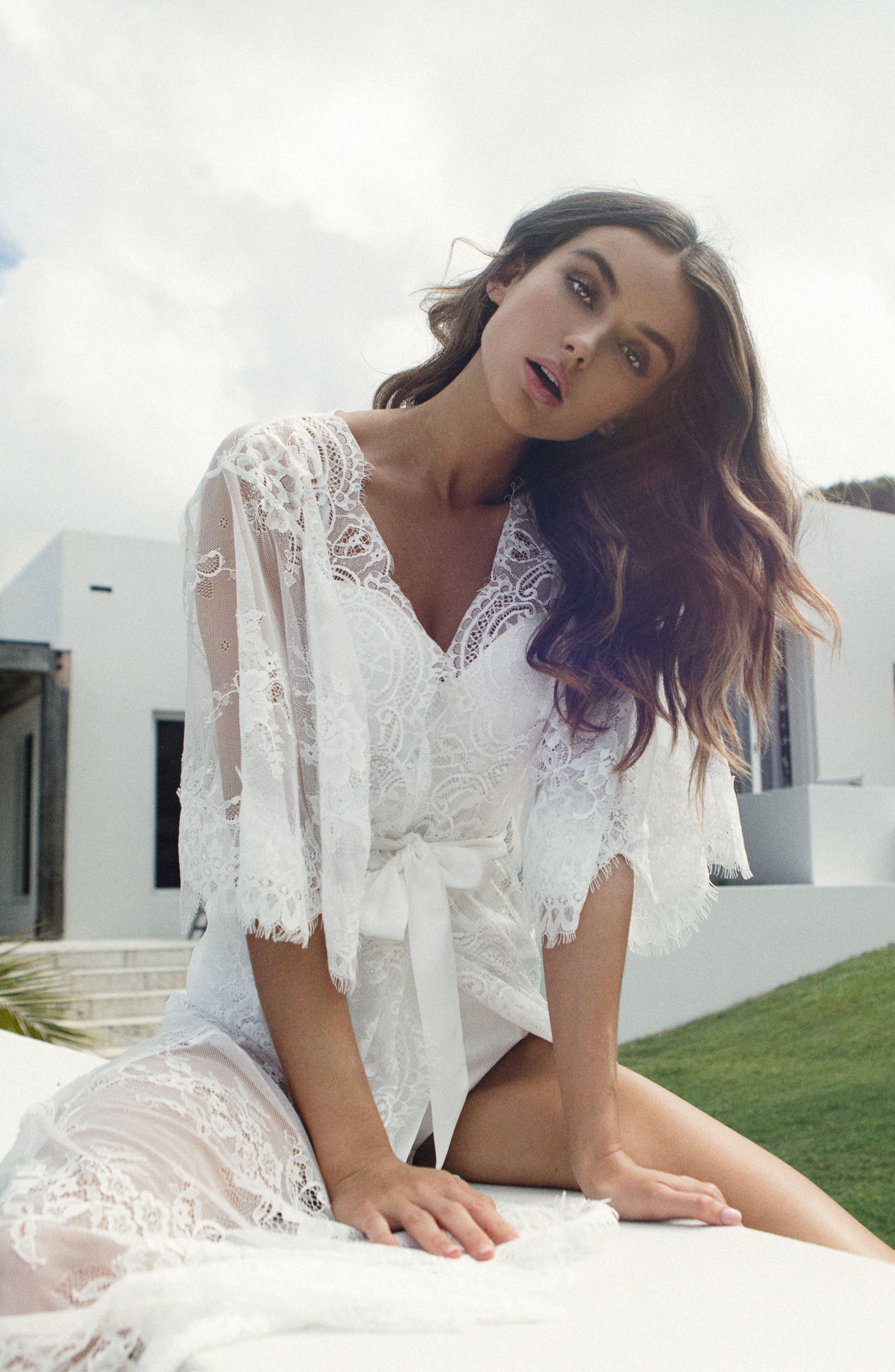 Kassiah Short Lace Wrap,                             Alternate thumbnail 8, color,                             WHITE