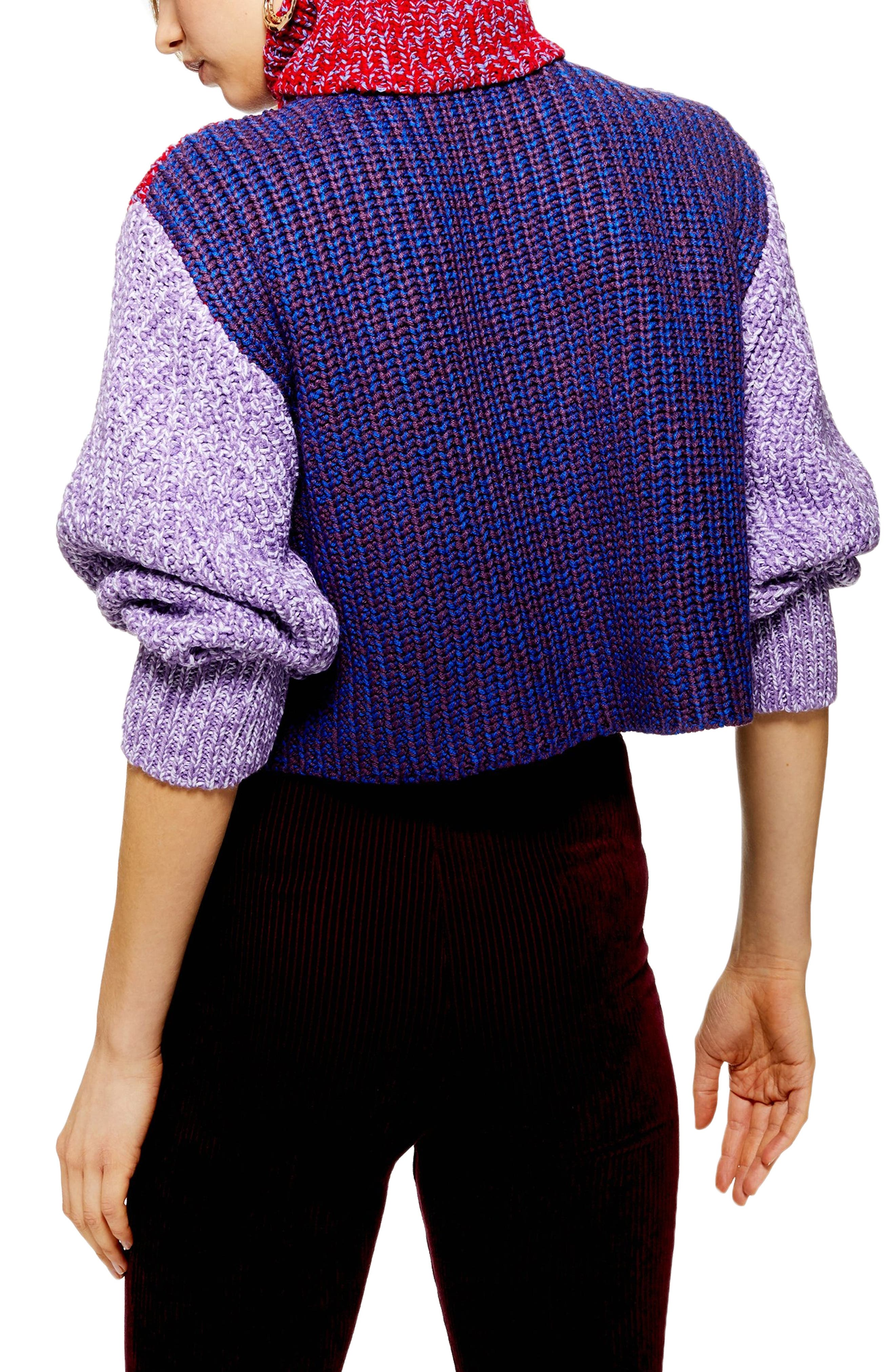 TOPSHOP,                             Three Color Roll Neck Sweater,                             Alternate thumbnail 2, color,                             RED MULTI