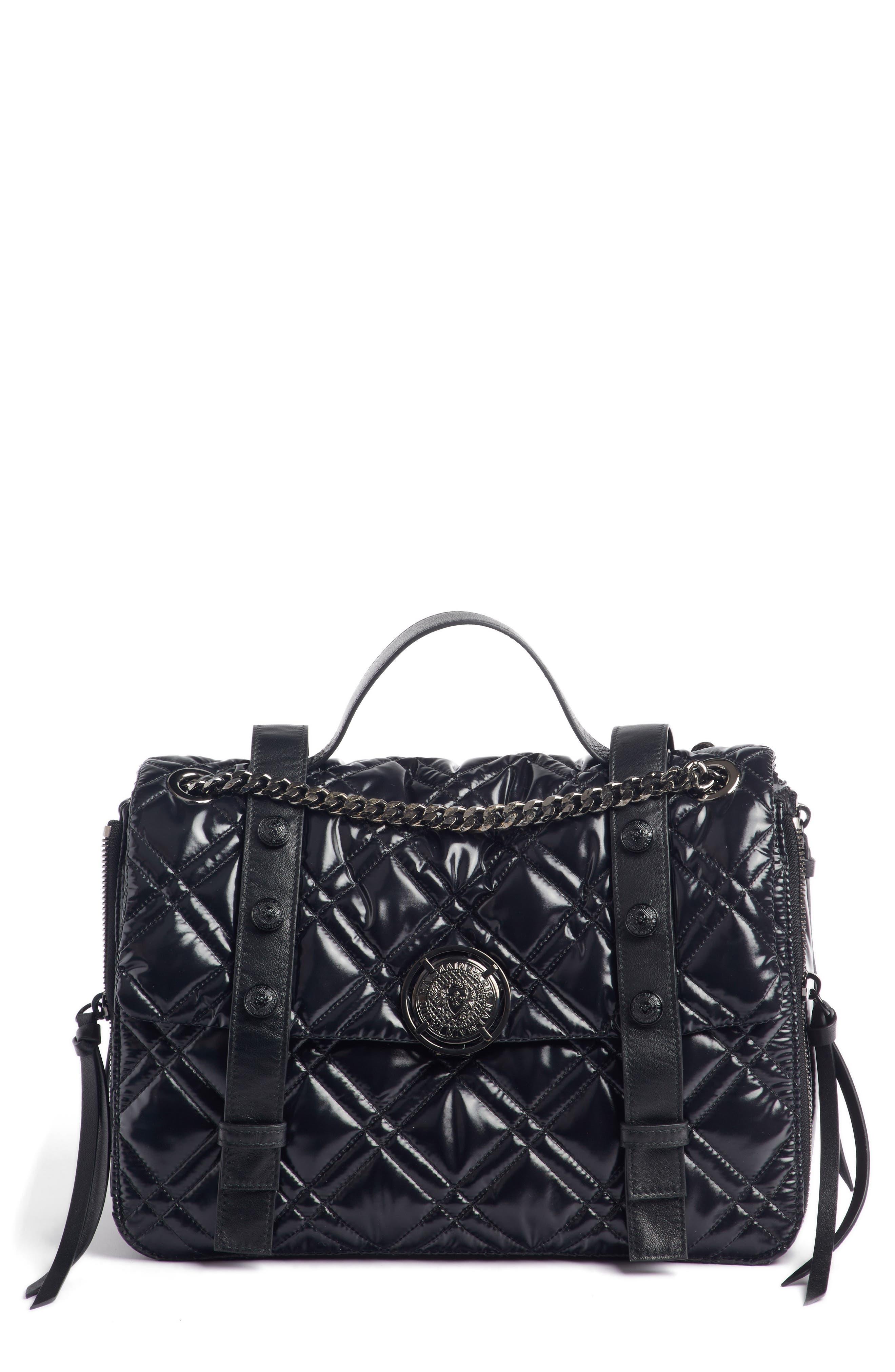 Quilted Faux Leather Shoulder Bag,                         Main,                         color, TRANSPARENT/ NOIR