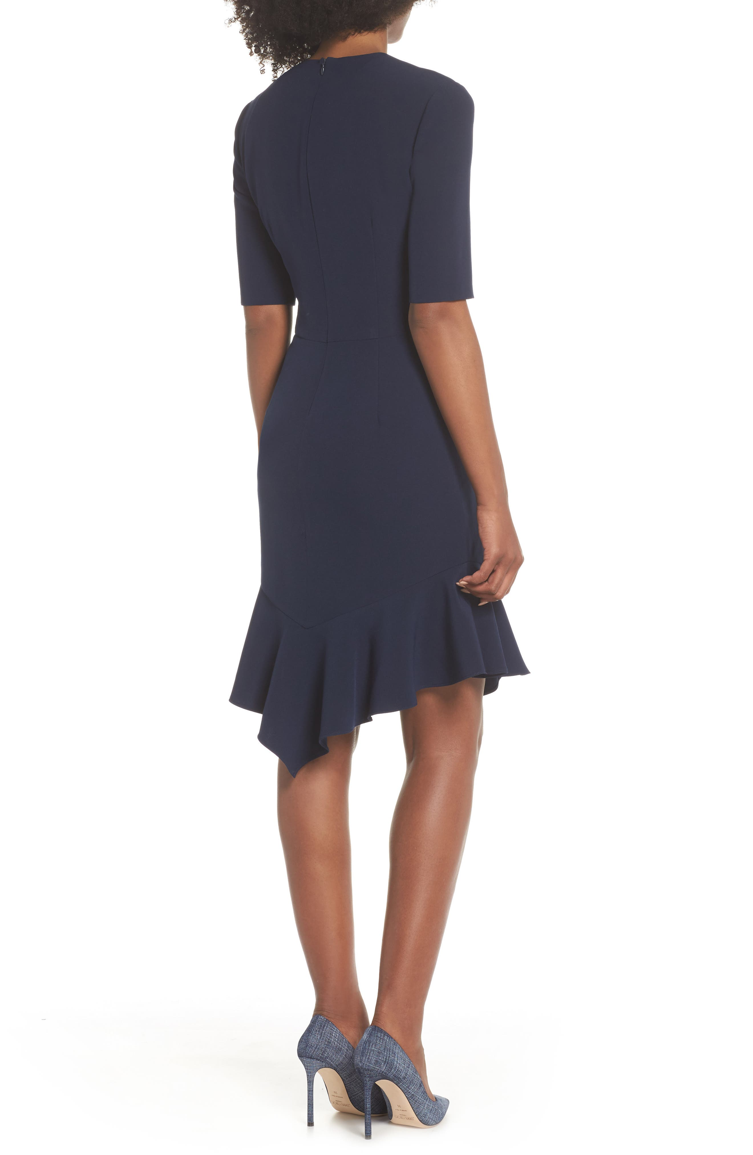 Flounce Hem Sheath Dress,                             Alternate thumbnail 2, color,                             NAVY