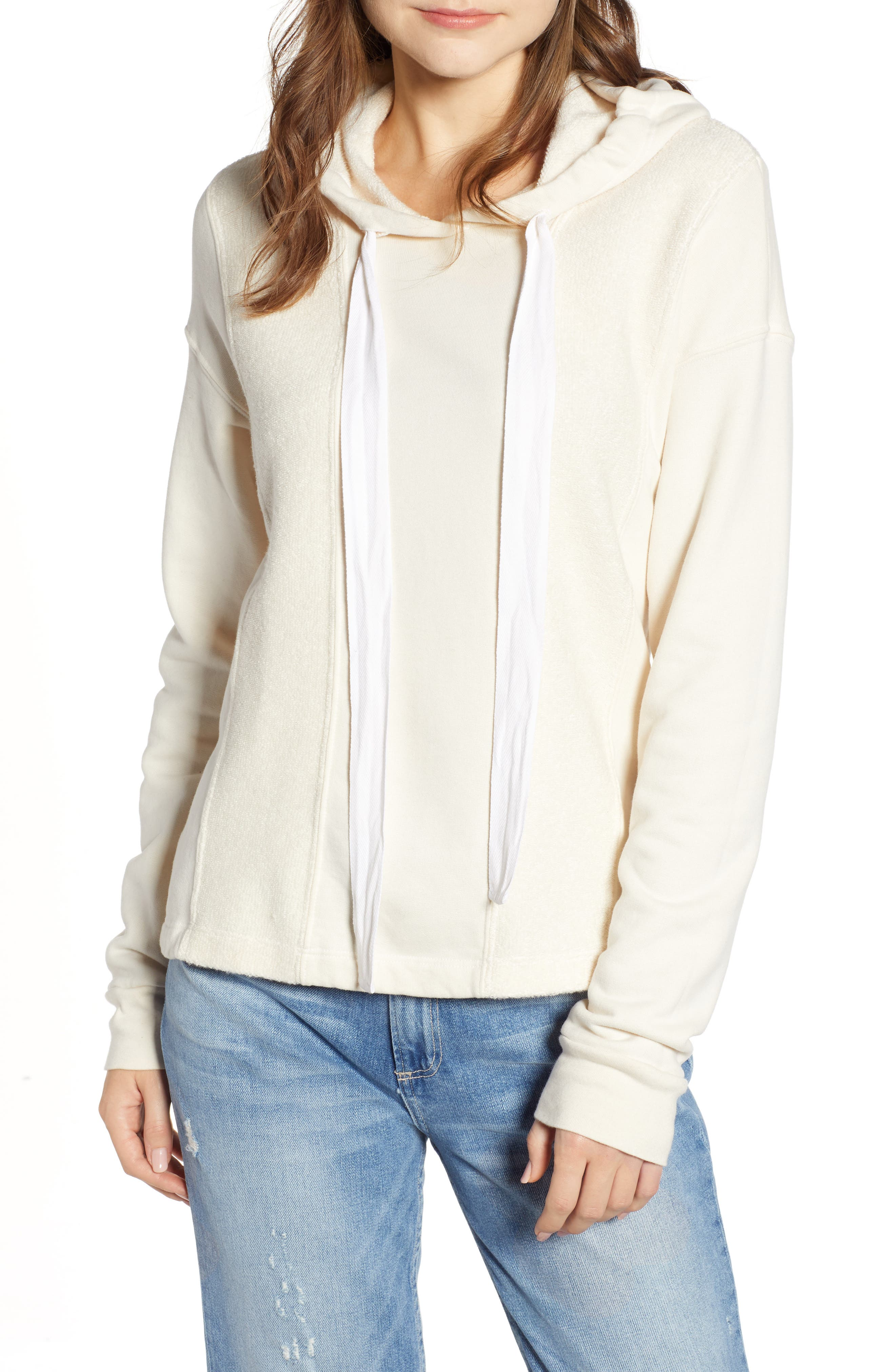 French Terry Hoodie,                         Main,                         color, CREAM