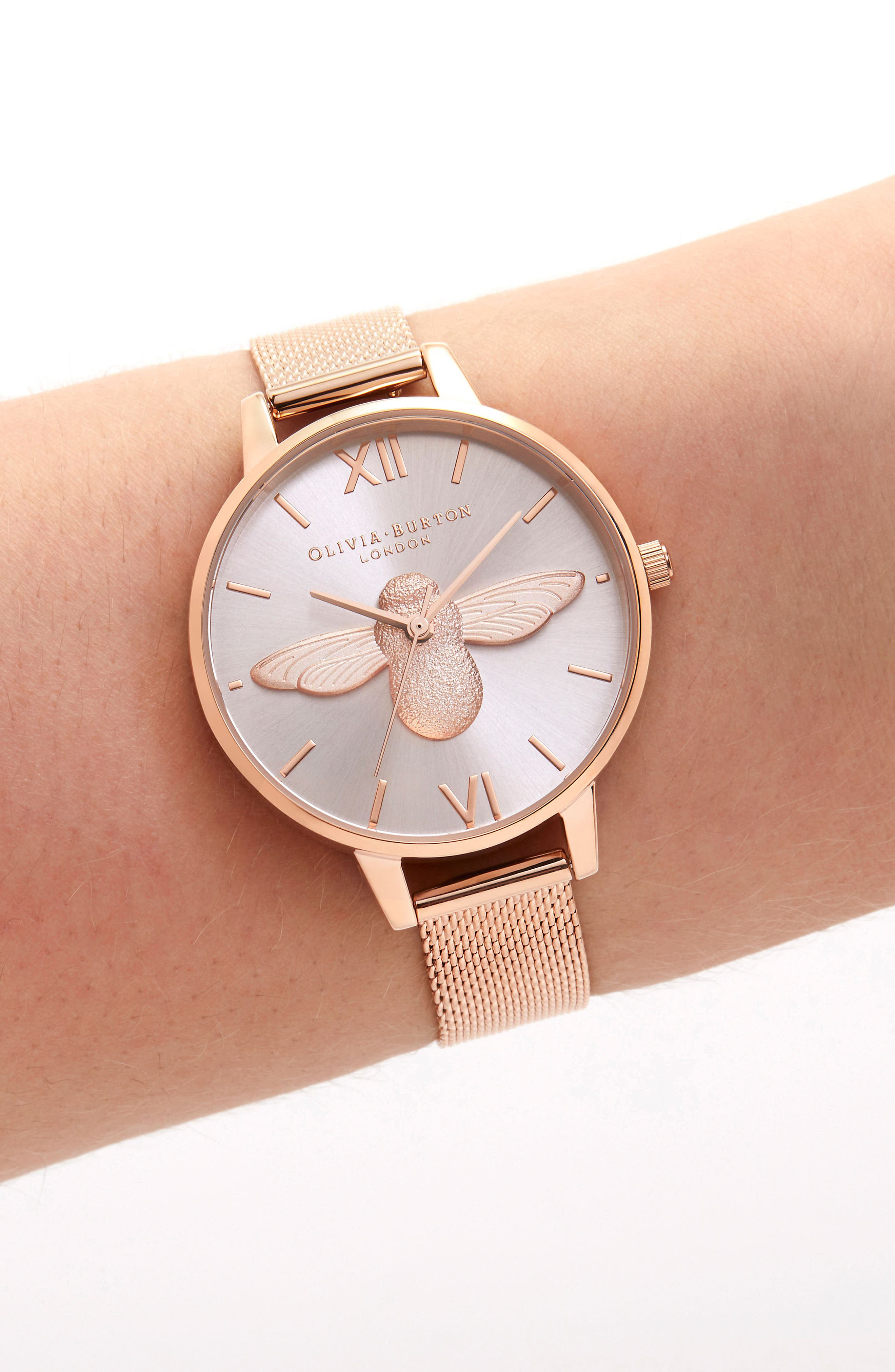 3D Bee Mesh Strap Watch, 34mm,                             Alternate thumbnail 2, color,                             ROSE GOLD/SUNRAY/ ROSE GOLD