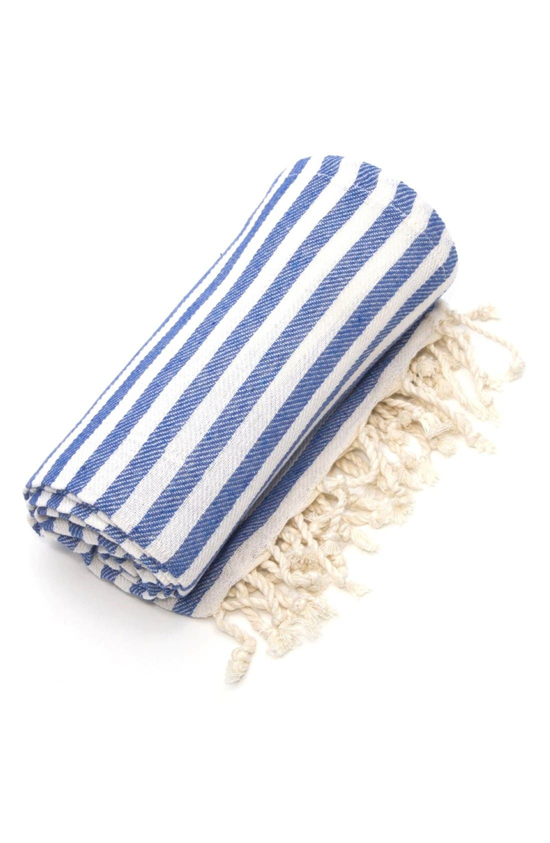 LINUM HOME TEXTILES,                             'Fun in the Sun' Turkish Pestemal Towel,                             Alternate thumbnail 3, color,                             OCEAN BLUE
