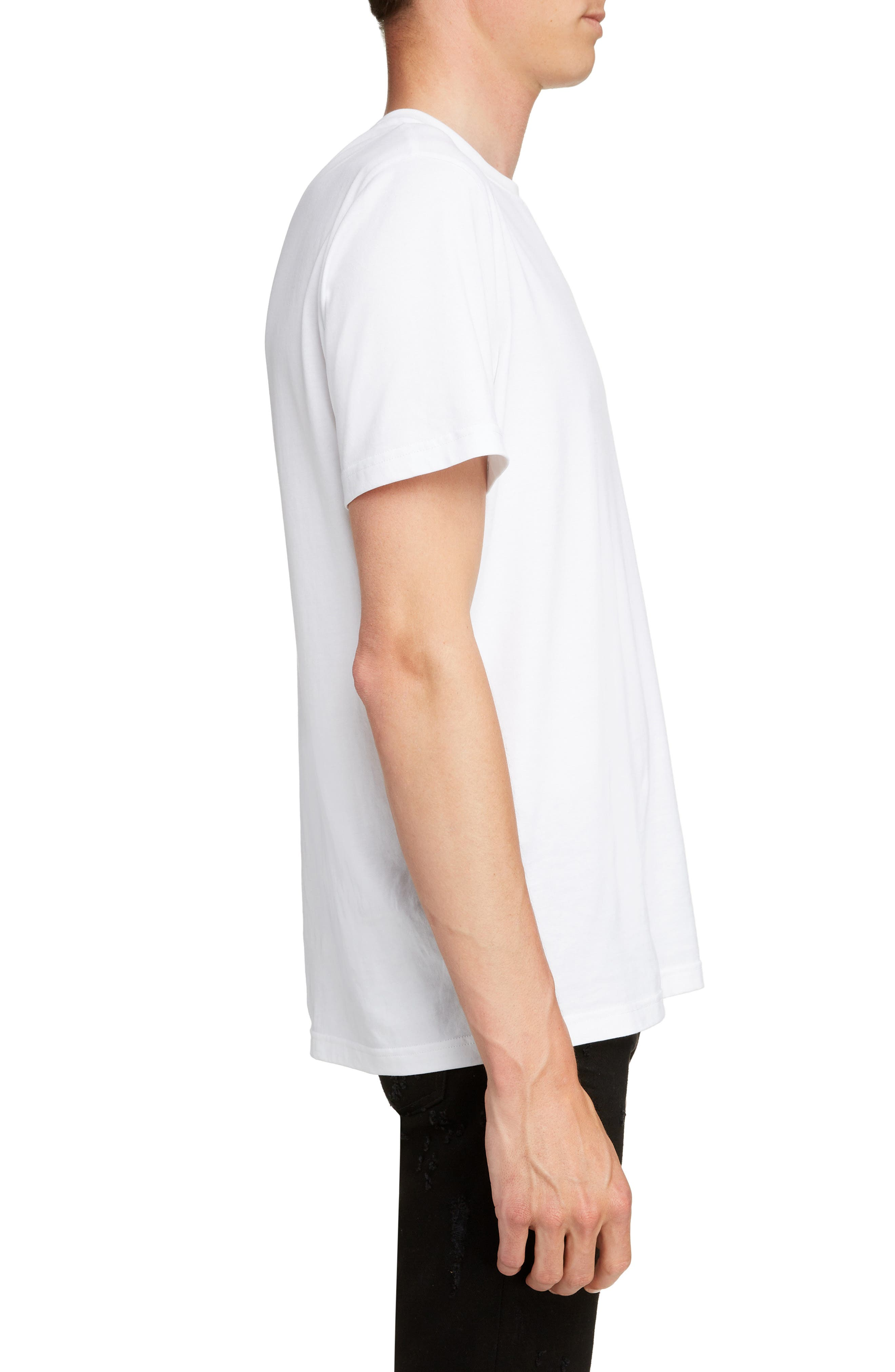 Vertical Logo Embroidered T-Shirt,                             Alternate thumbnail 3, color,                             WHITE