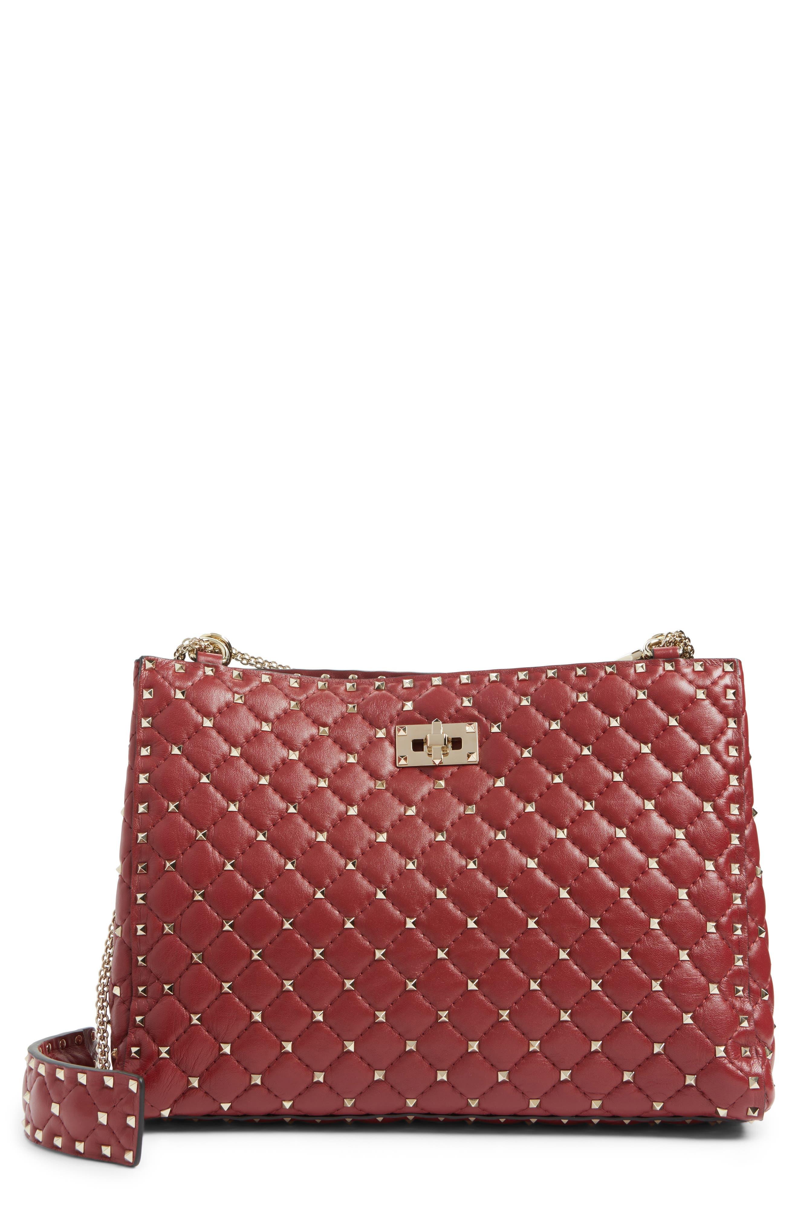 Rockstud Spike Quilted Lambskin Leather Shoulder Bag,                         Main,                         color, ROSSO