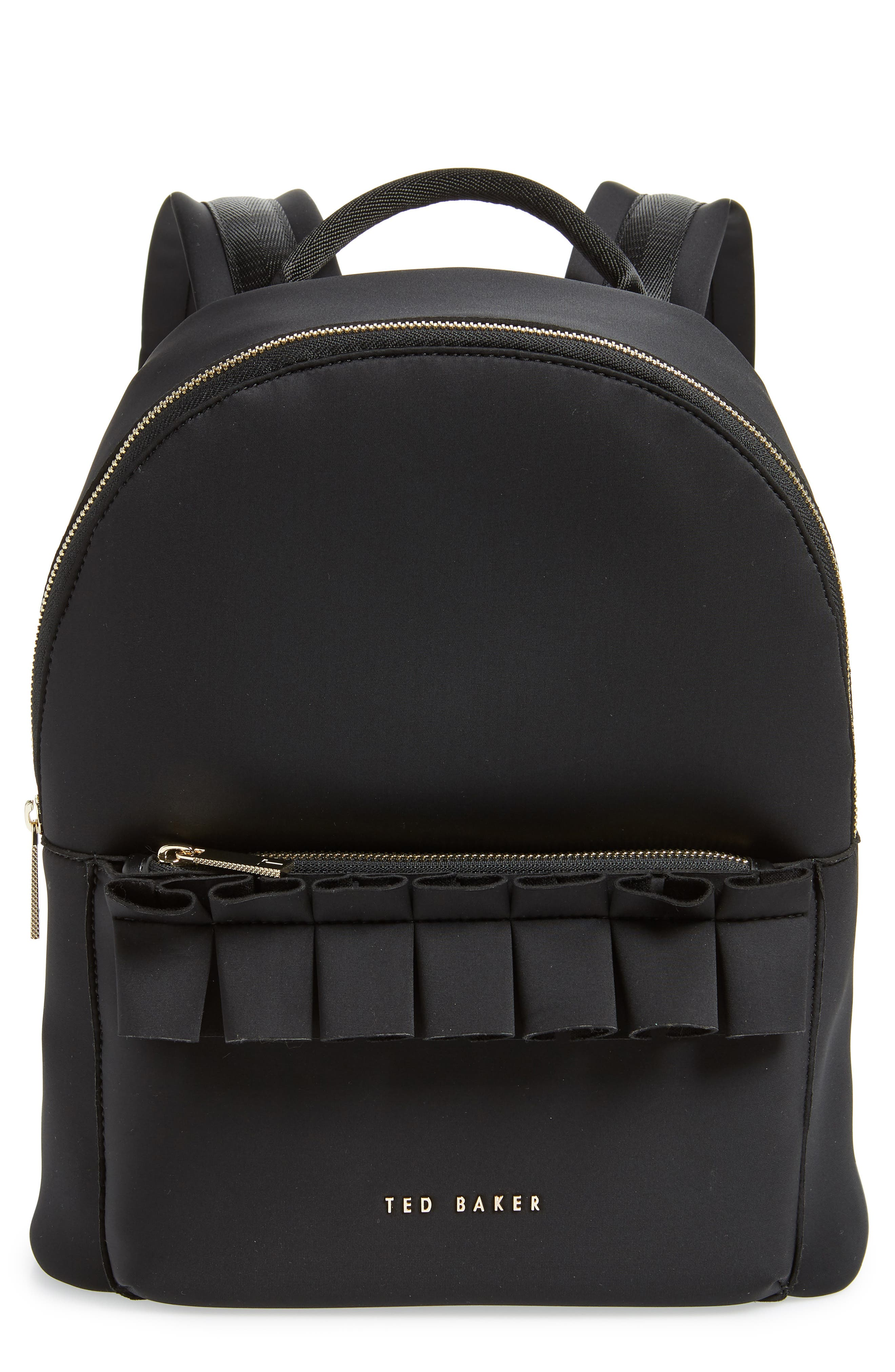 TED BAKER LONDON Rresse Ruffle Backpack, Main, color, 001