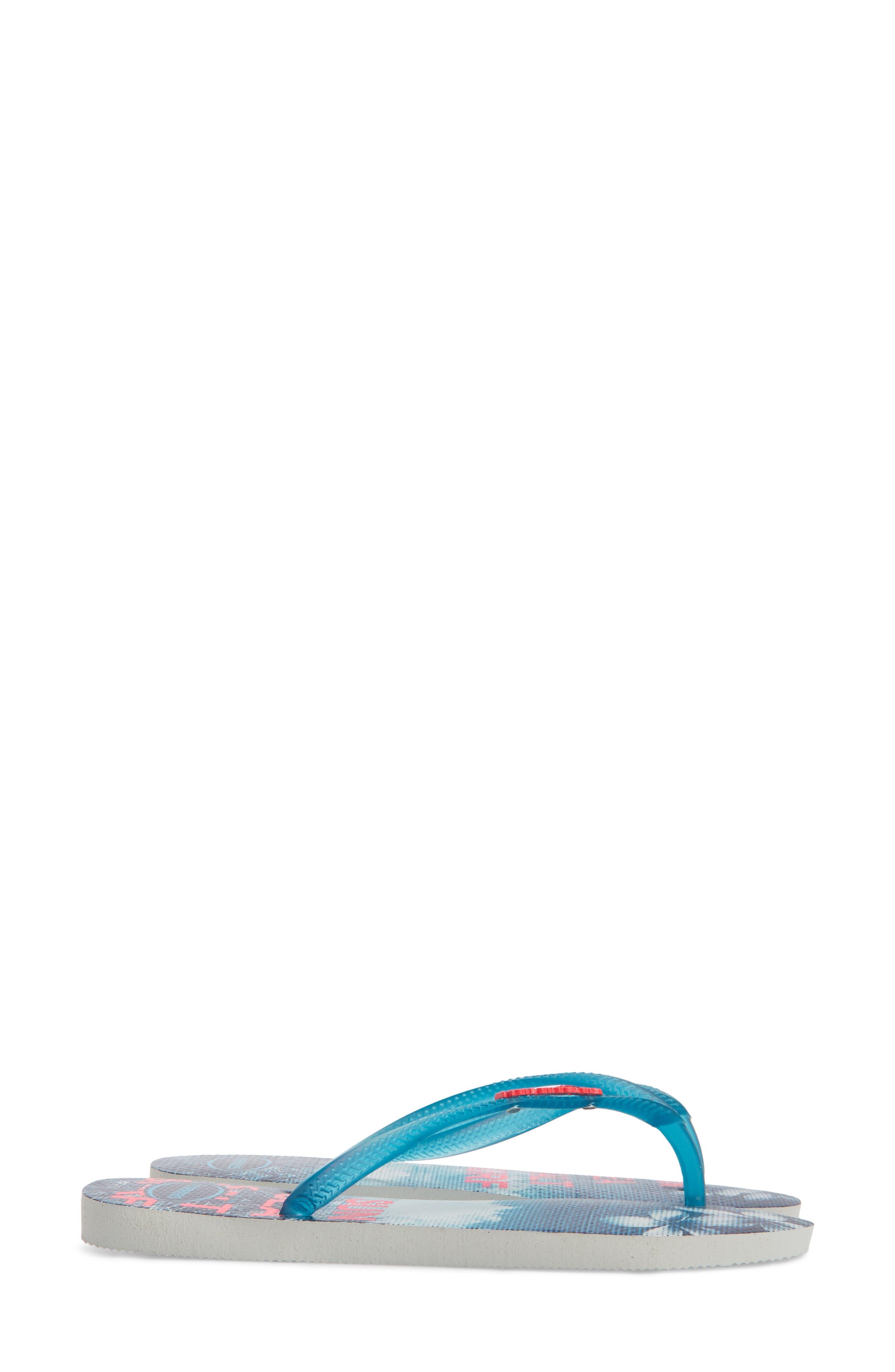 'Slim Paisage' Flip Flop,                             Alternate thumbnail 4, color,                             WHITE/ TURQUOISE