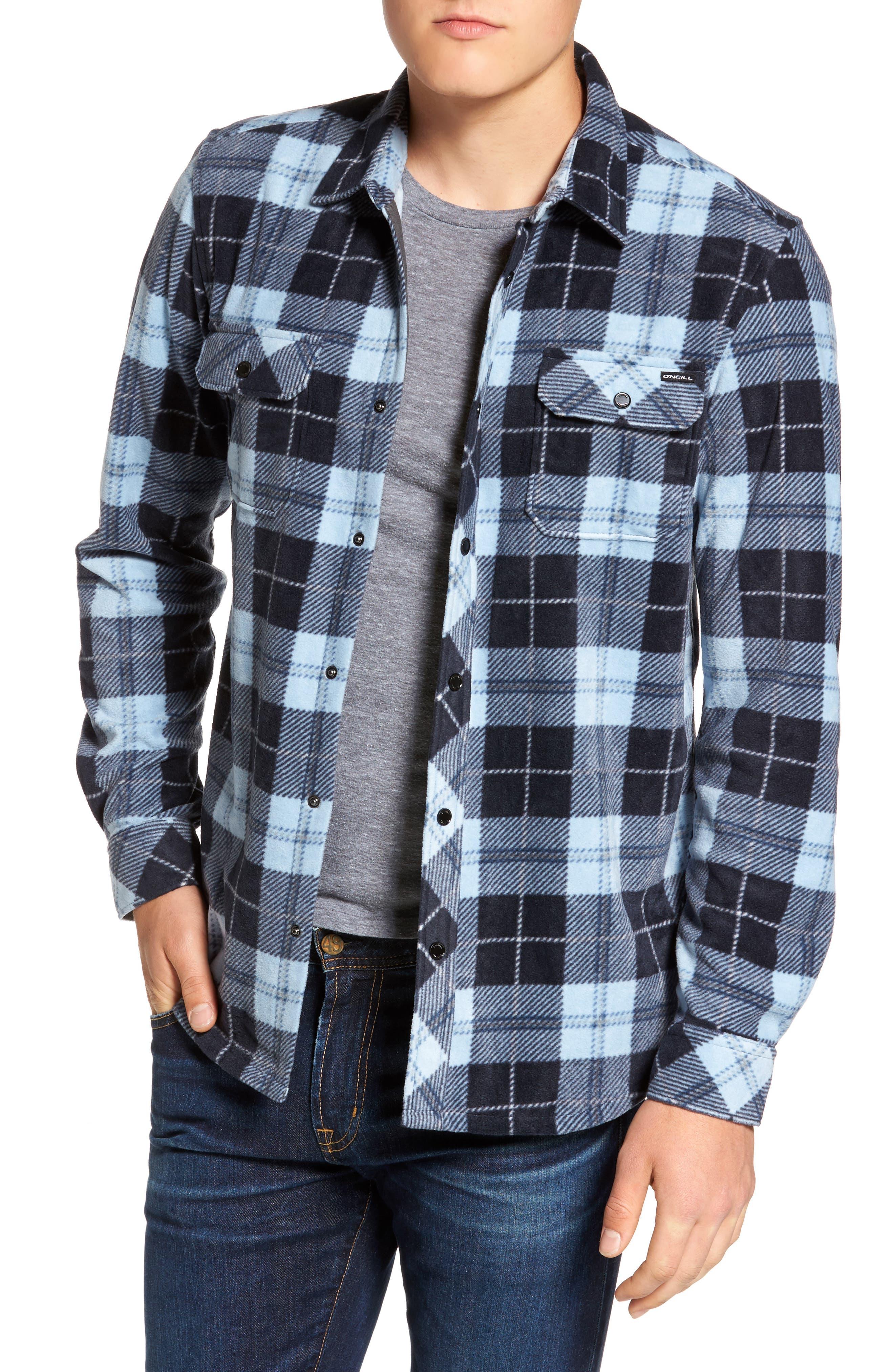 Glacier Plaid Fleece Flannel Shirt,                             Main thumbnail 5, color,