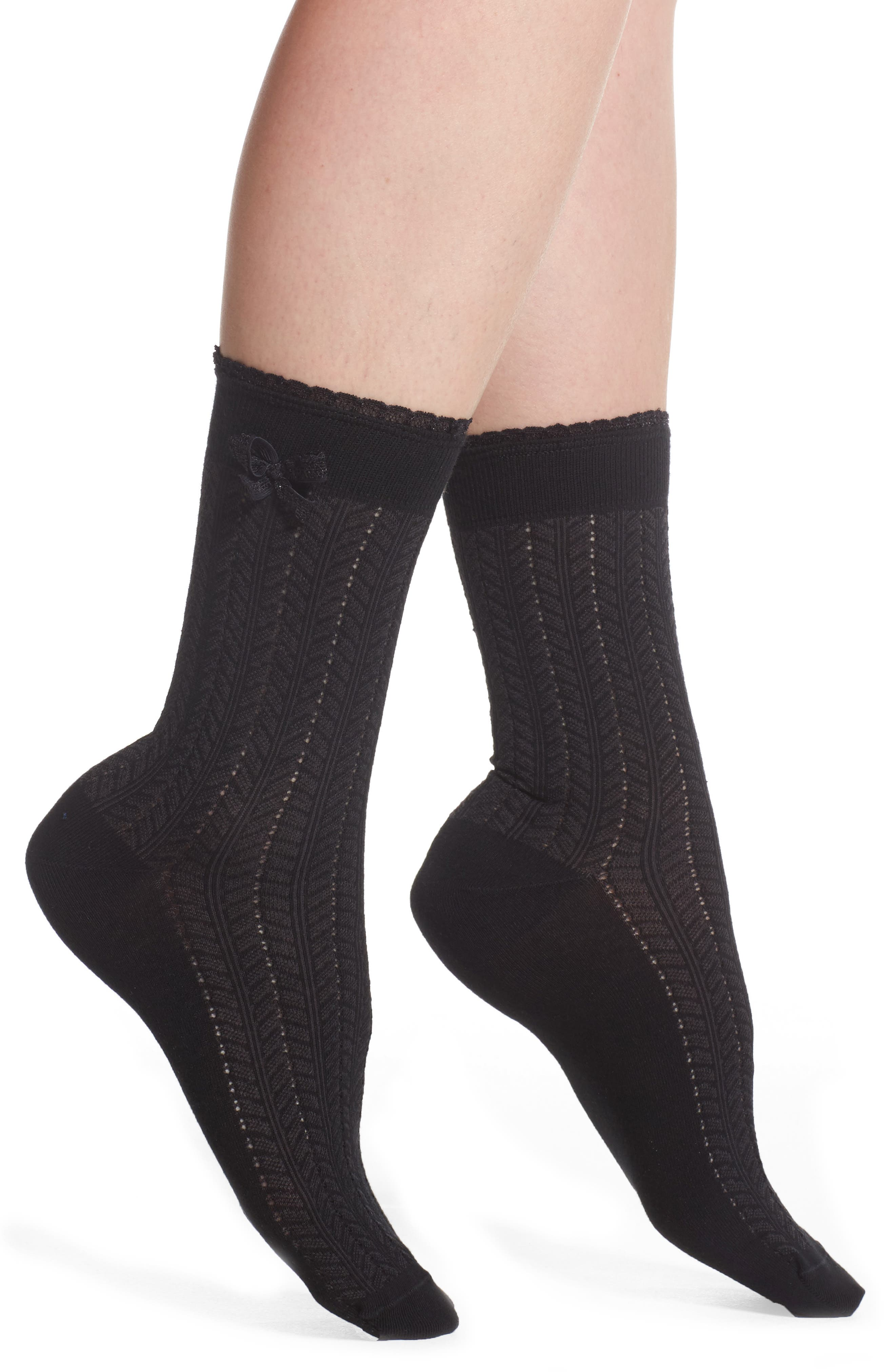 Bow Pointelle Crew Socks,                         Main,                         color, 001