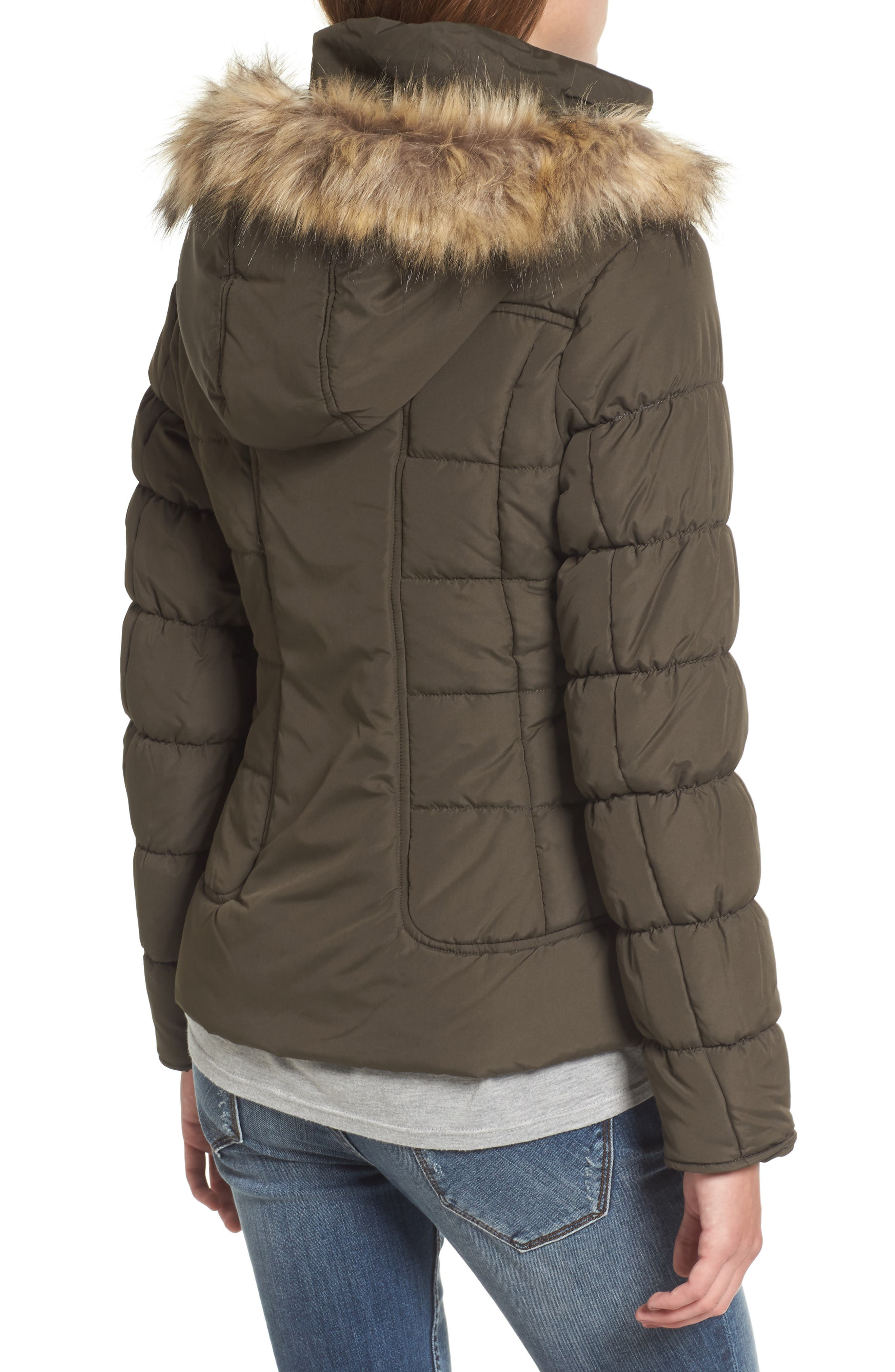Quilted Jacket with Faux Fur Collar,                             Alternate thumbnail 4, color,
