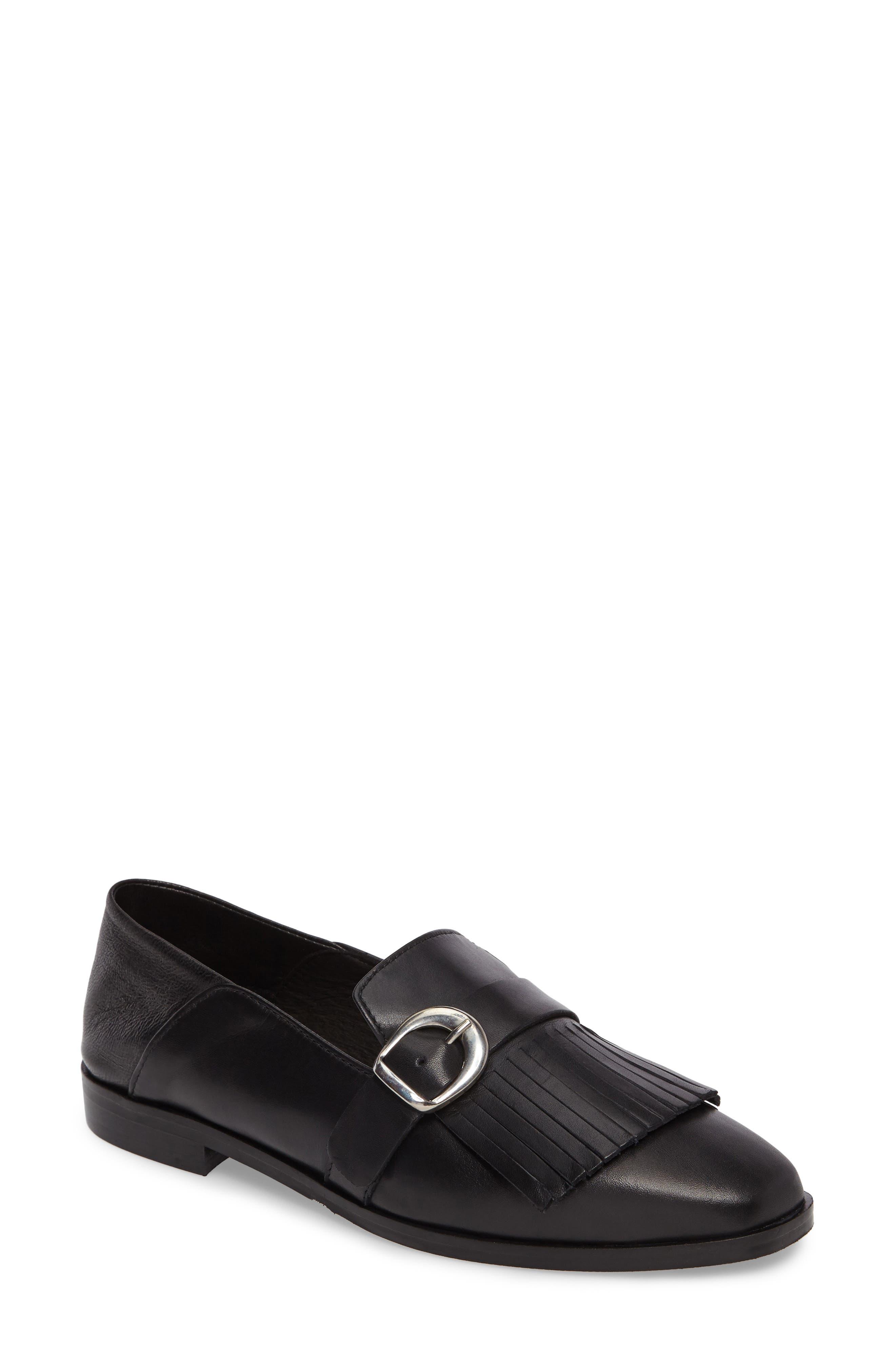 Dame Fringed Loafer Flat,                         Main,                         color, 001
