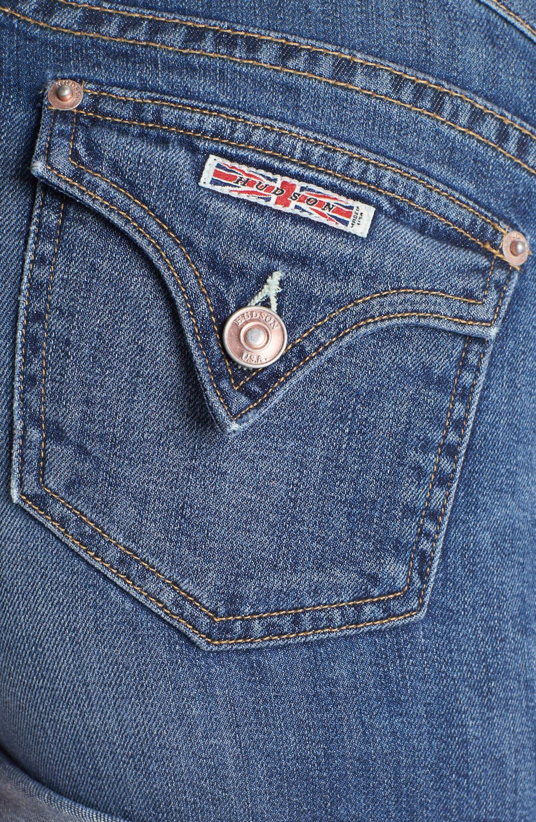 Cuff Denim Shorts,                             Alternate thumbnail 3, color,                             420