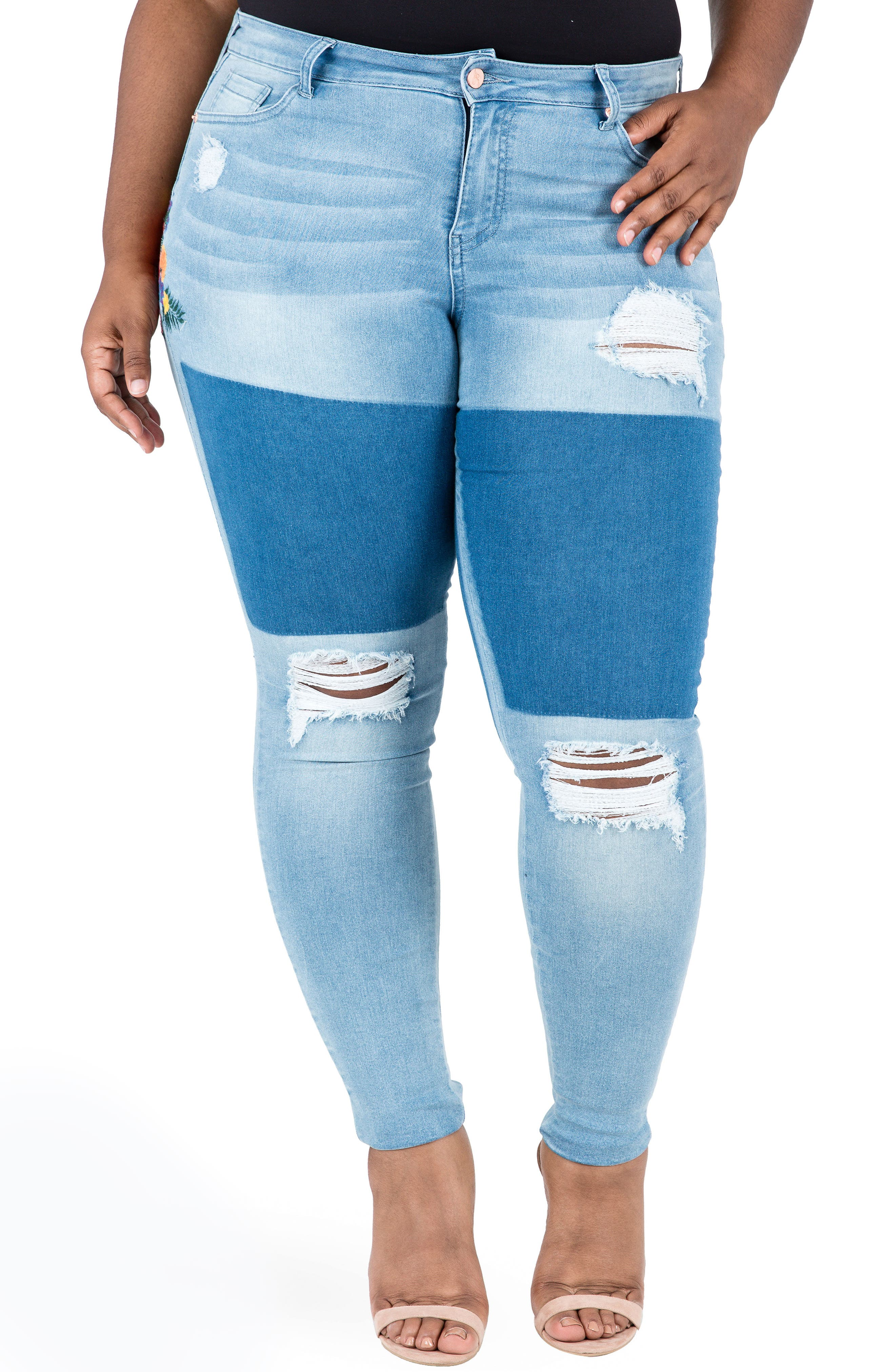 Madison Ripped & Embroidered Skinny Jeans,                         Main,                         color, BLUE