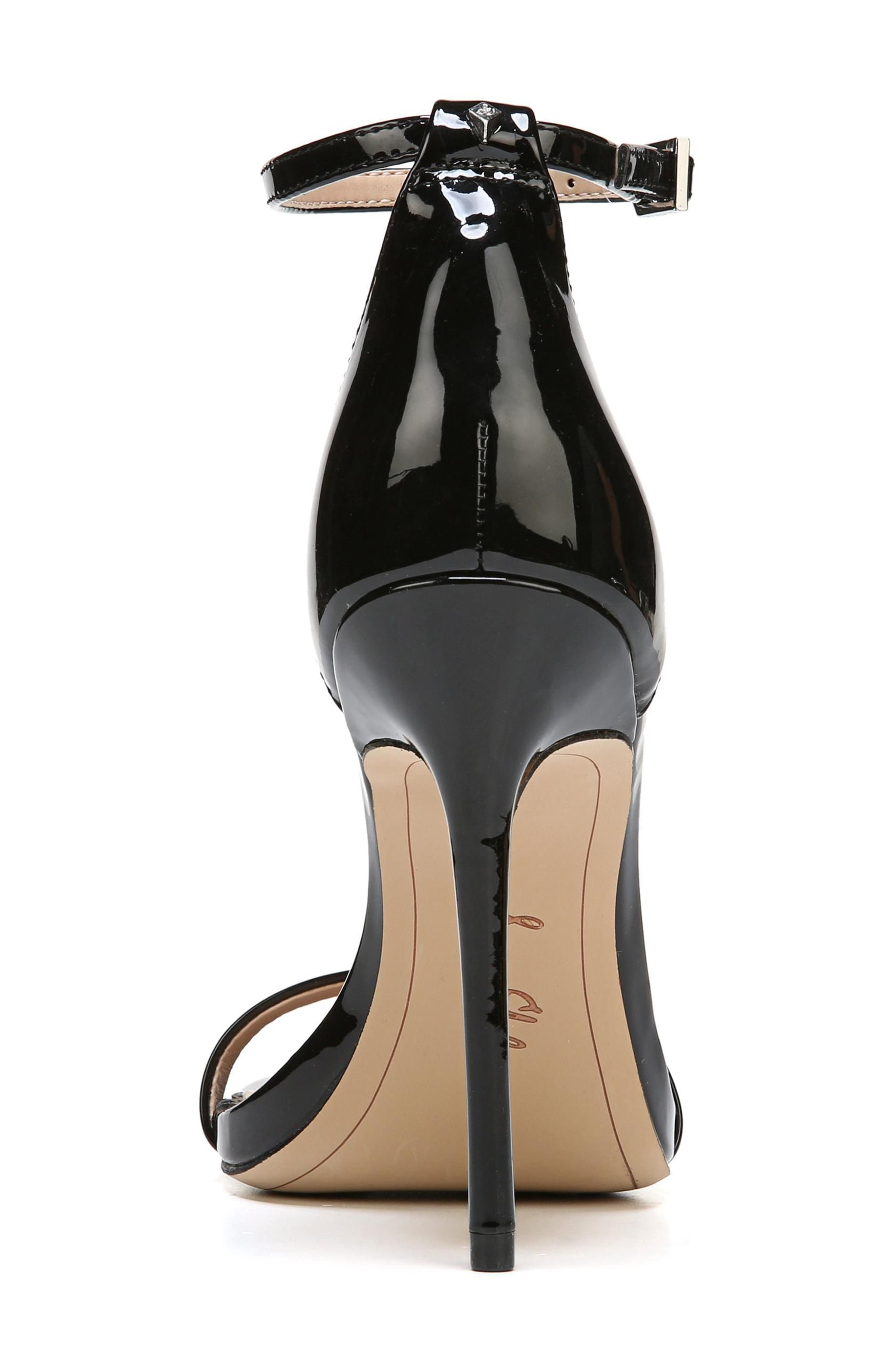 Ariella Ankle Strap Sandal,                             Alternate thumbnail 7, color,                             BLACK PATENT LEATHER