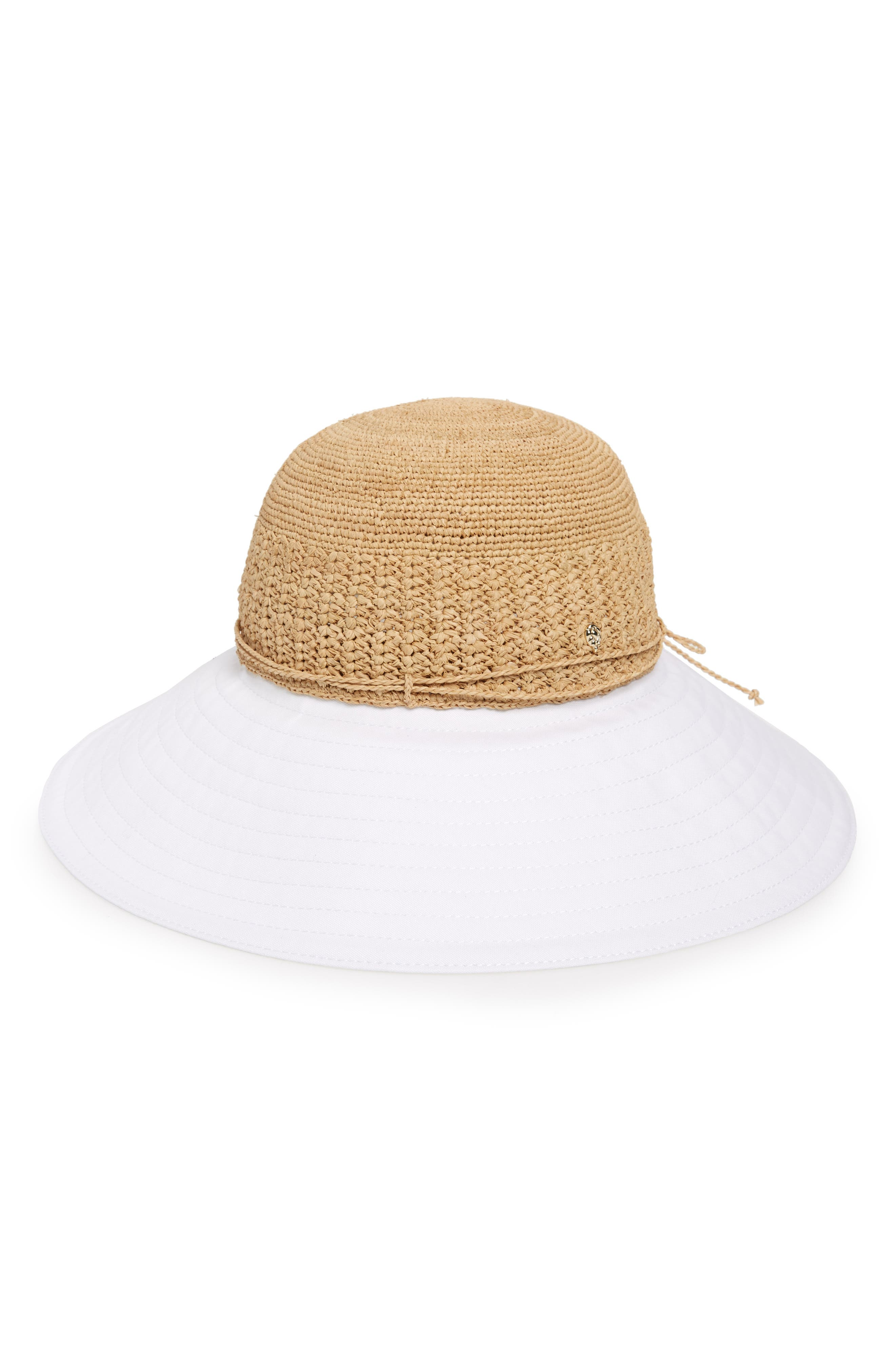 Raffia & Cotton Packable Wide Brim Hat,                             Main thumbnail 1, color,                             NATURAL/ WHITE