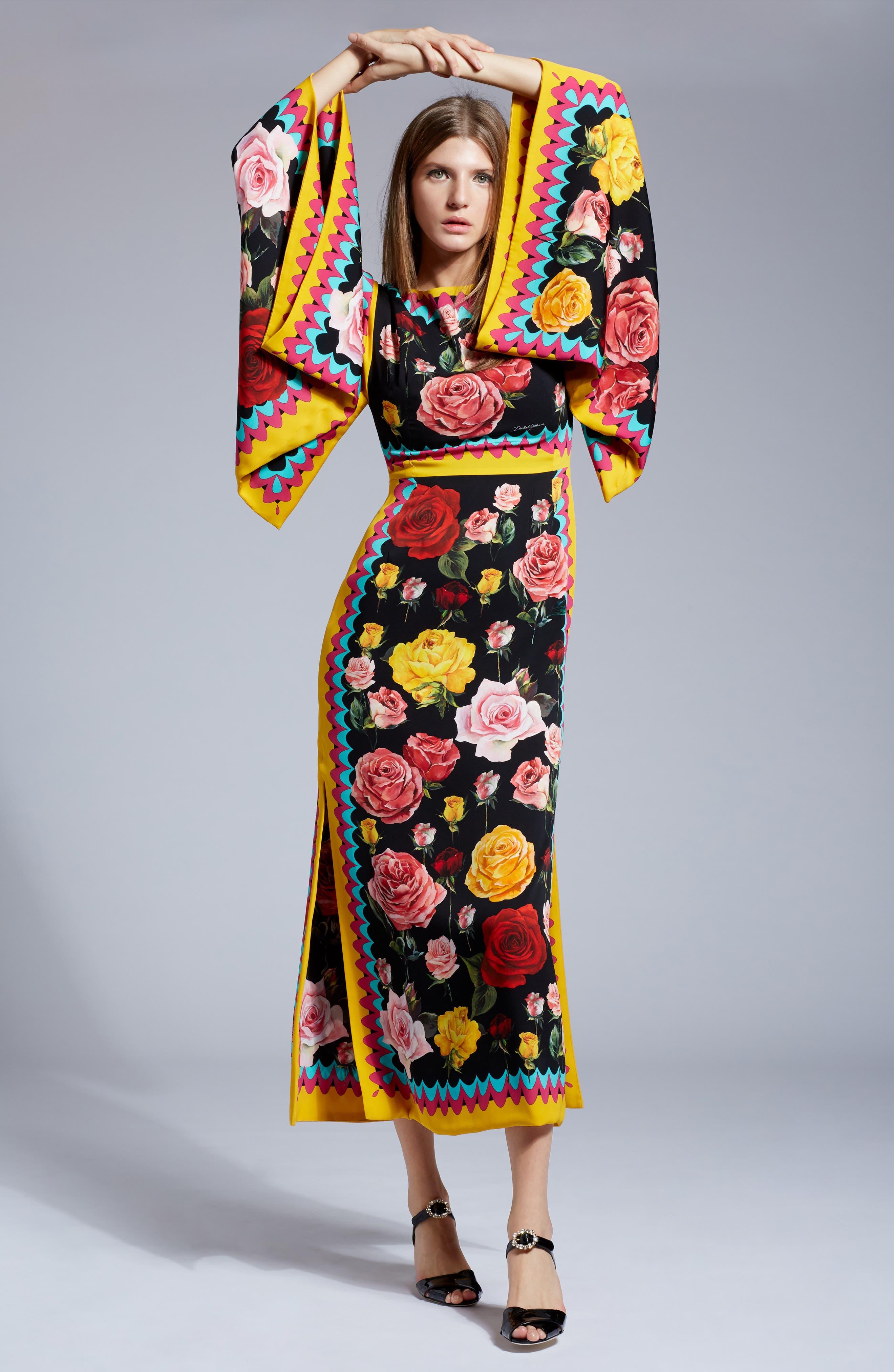 Charm Rose Print Stretch Silk Maxi Dress,                             Alternate thumbnail 6, color,                             001