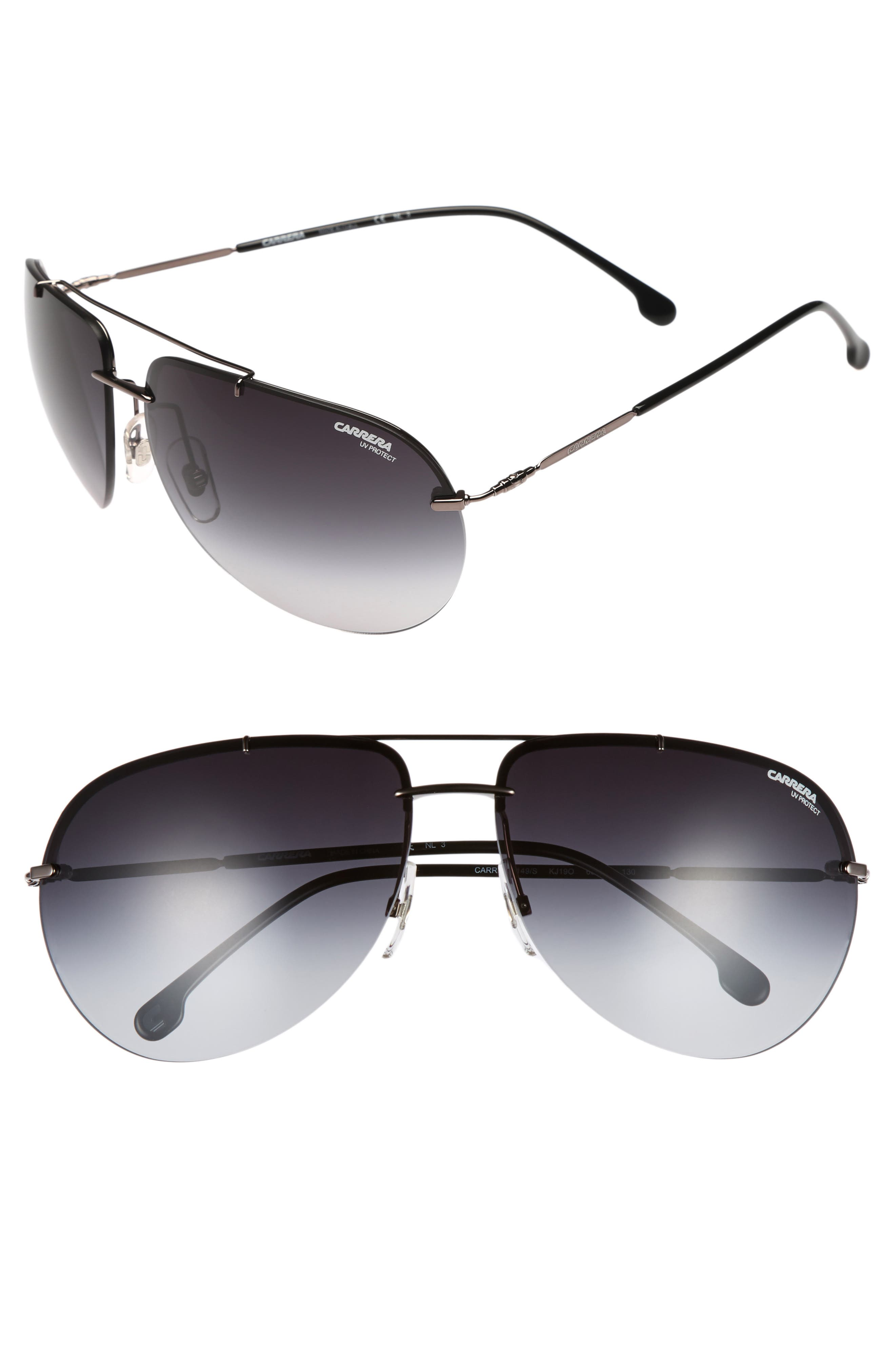149S 65mm Polarized Aviator Sunglasses,                             Main thumbnail 1, color,                             DARK RUTHENIUM / GRAY GRADIENT