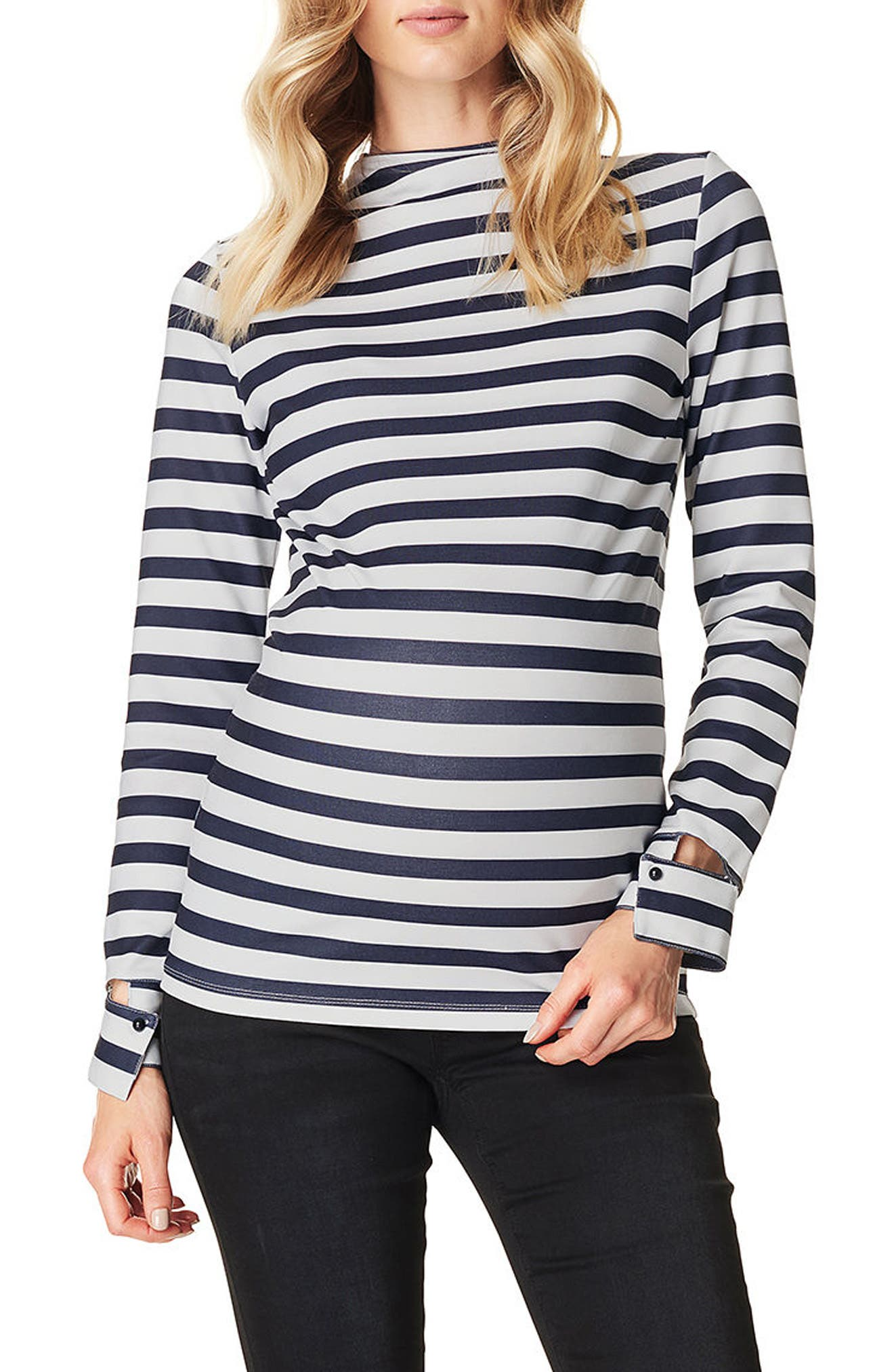 Stripe Mock Neck Maternity Top,                             Main thumbnail 1, color,                             BLACK STRIPE