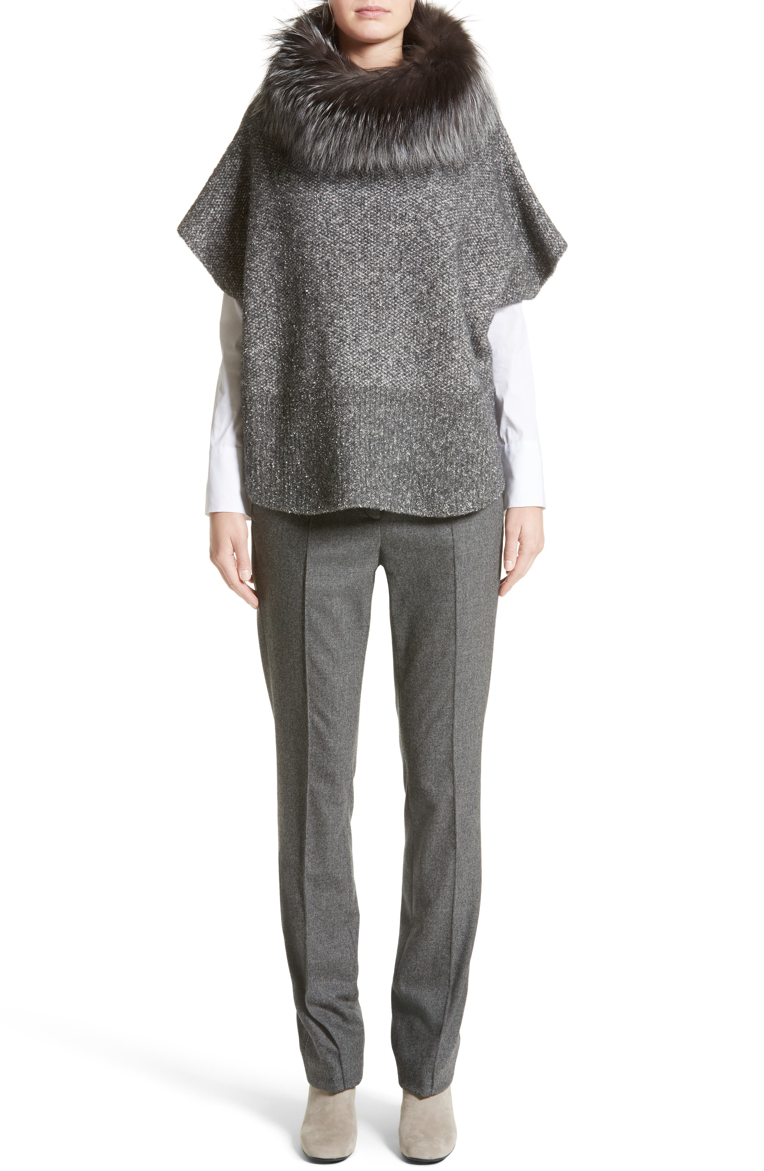 Pebble Tweed Knit Poncho with Genuine Fox Fur Collar,                             Alternate thumbnail 7, color,