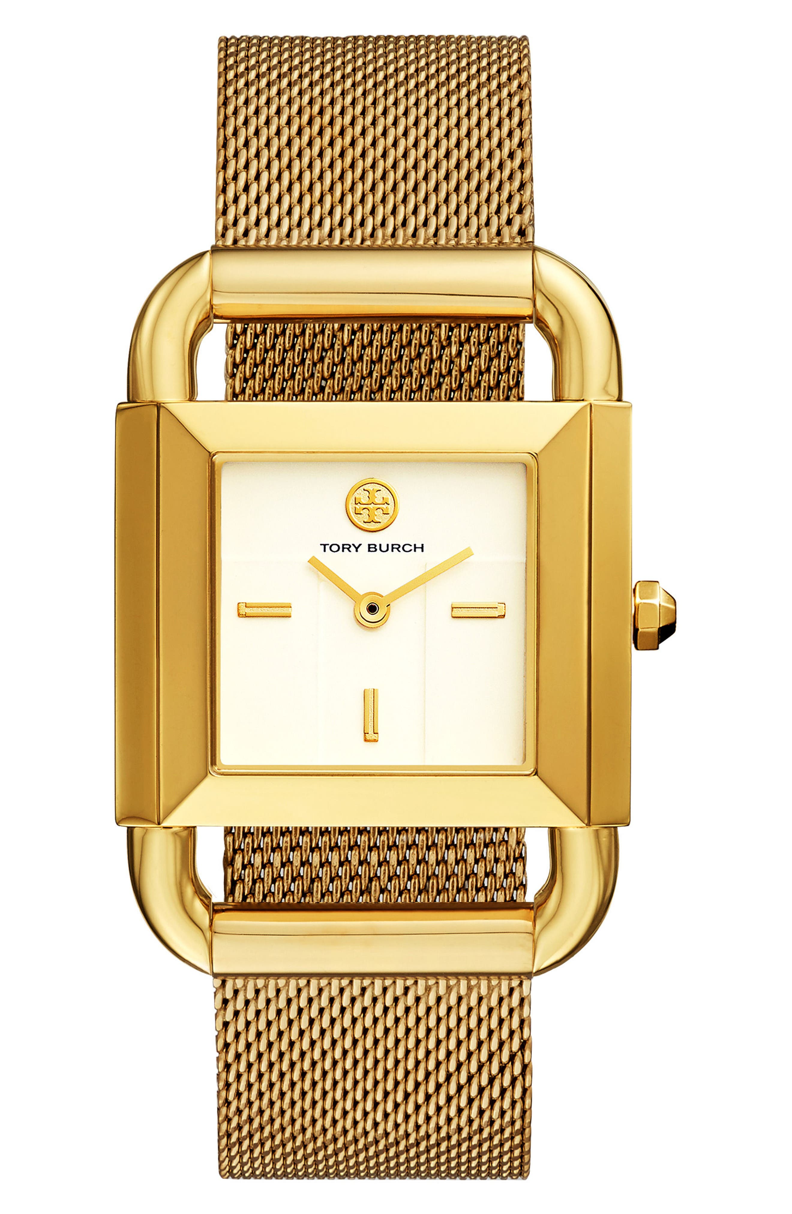 Phipps Mesh Strap Watch, 29mm x 41mm,                             Main thumbnail 1, color,                             GOLD/ IVORY/ GOLD