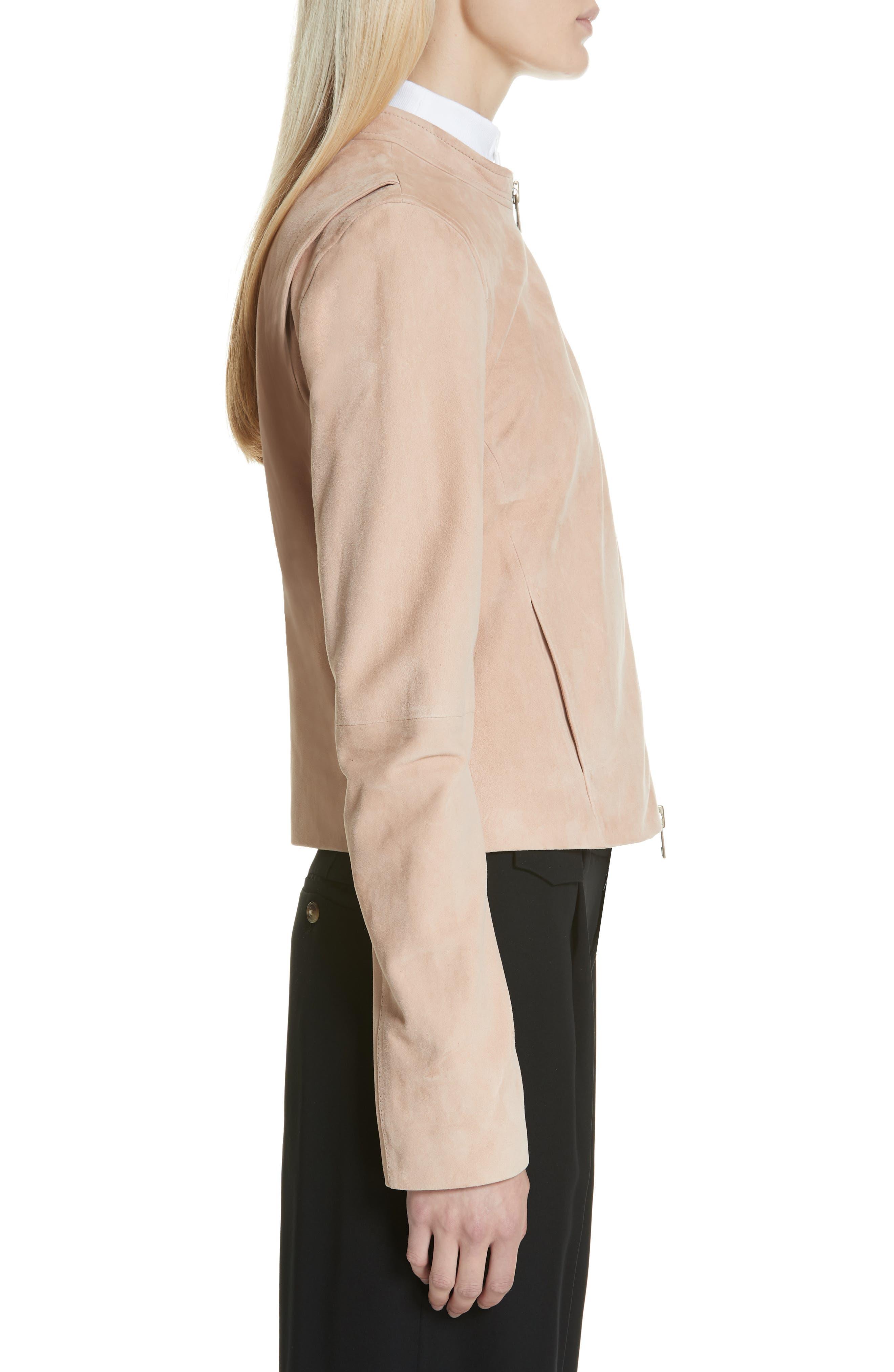 VINCE,                             Suede Moto Jacket,                             Alternate thumbnail 3, color,                             ROSE QUARTZ