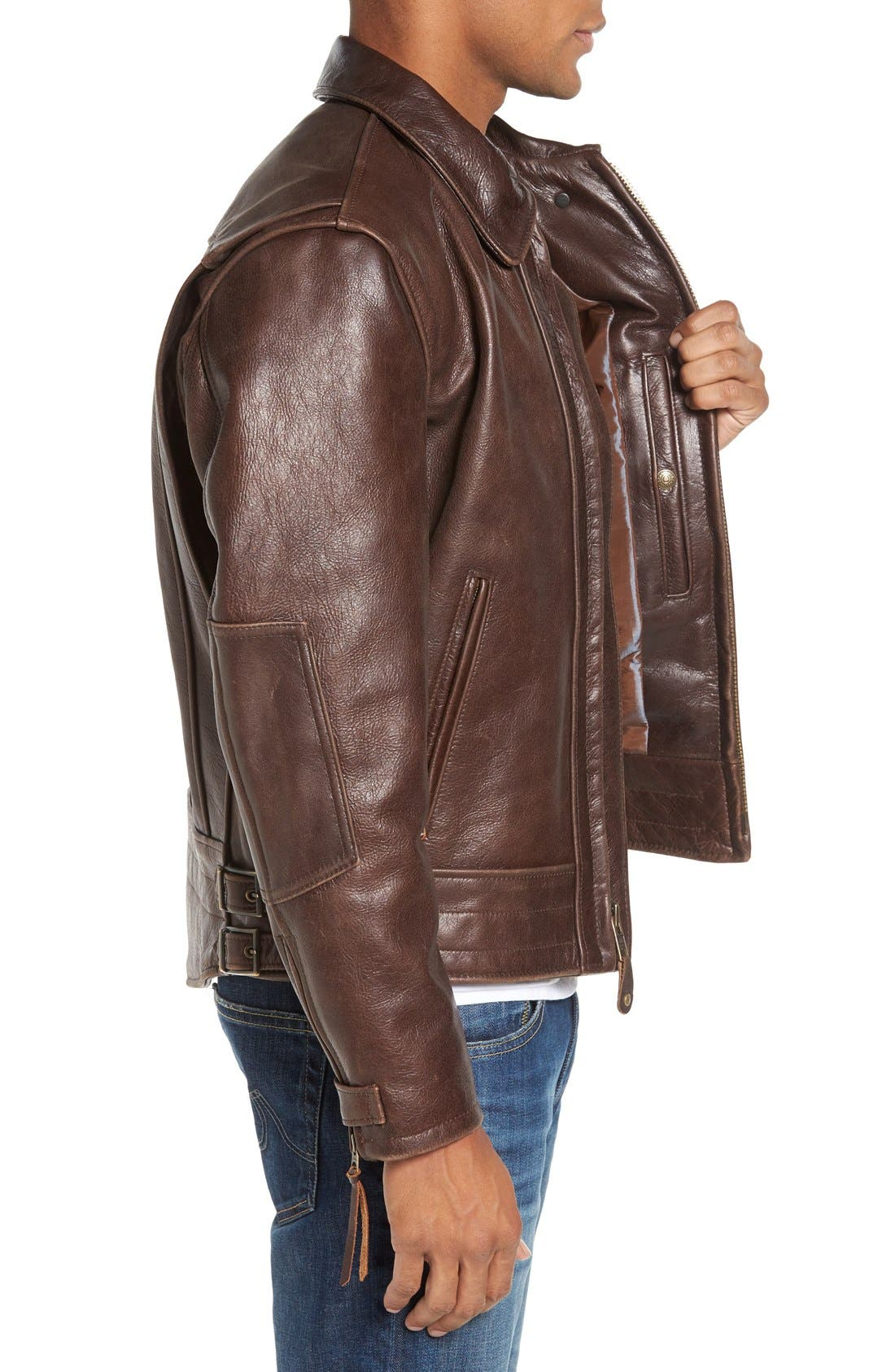 Antique Vintage Style Leather Moto Jacket,                             Alternate thumbnail 3, color,                             200