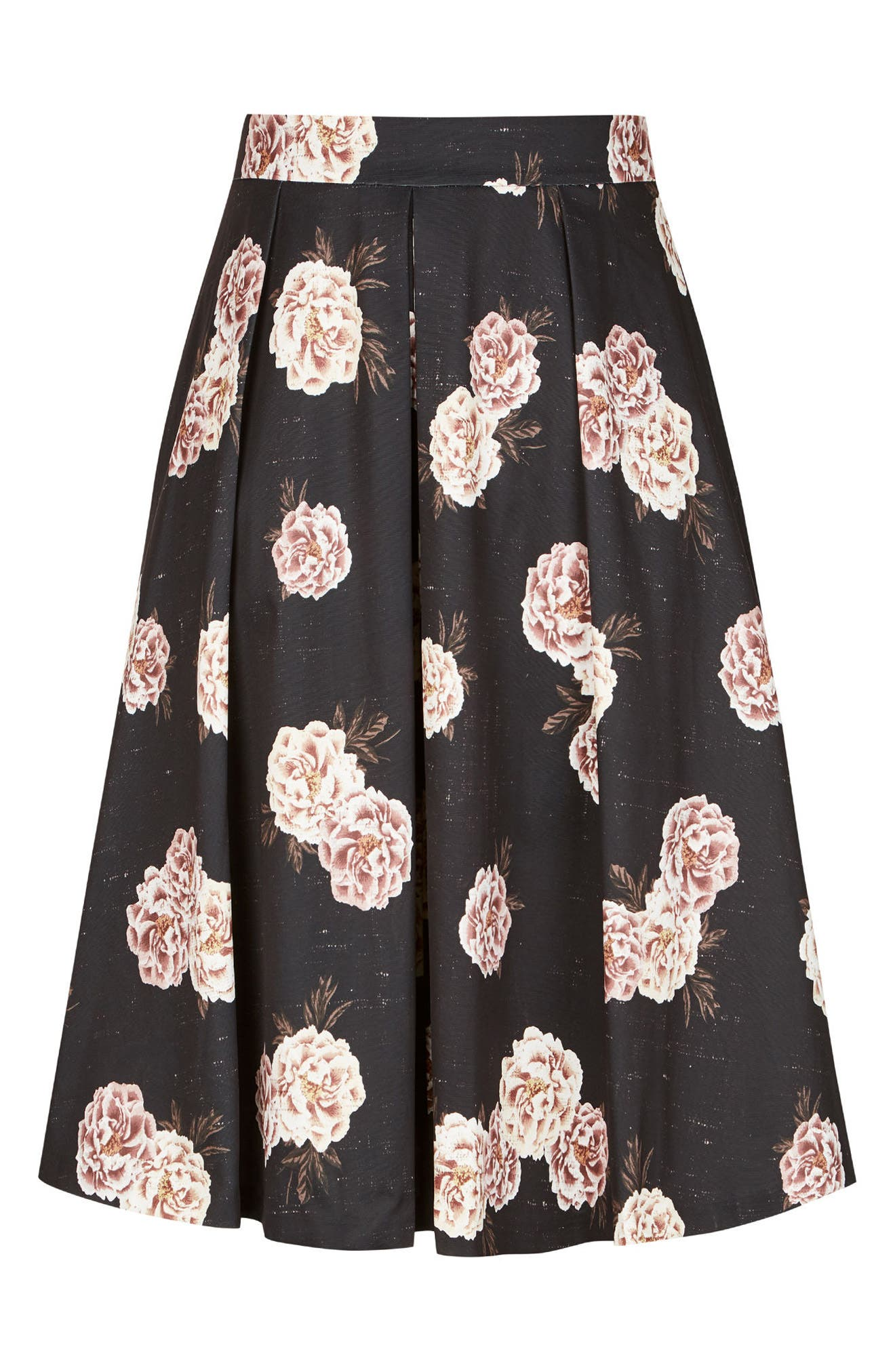 Rose Print A-Line Skirt,                             Alternate thumbnail 4, color,                             ANTIQUE ROSE