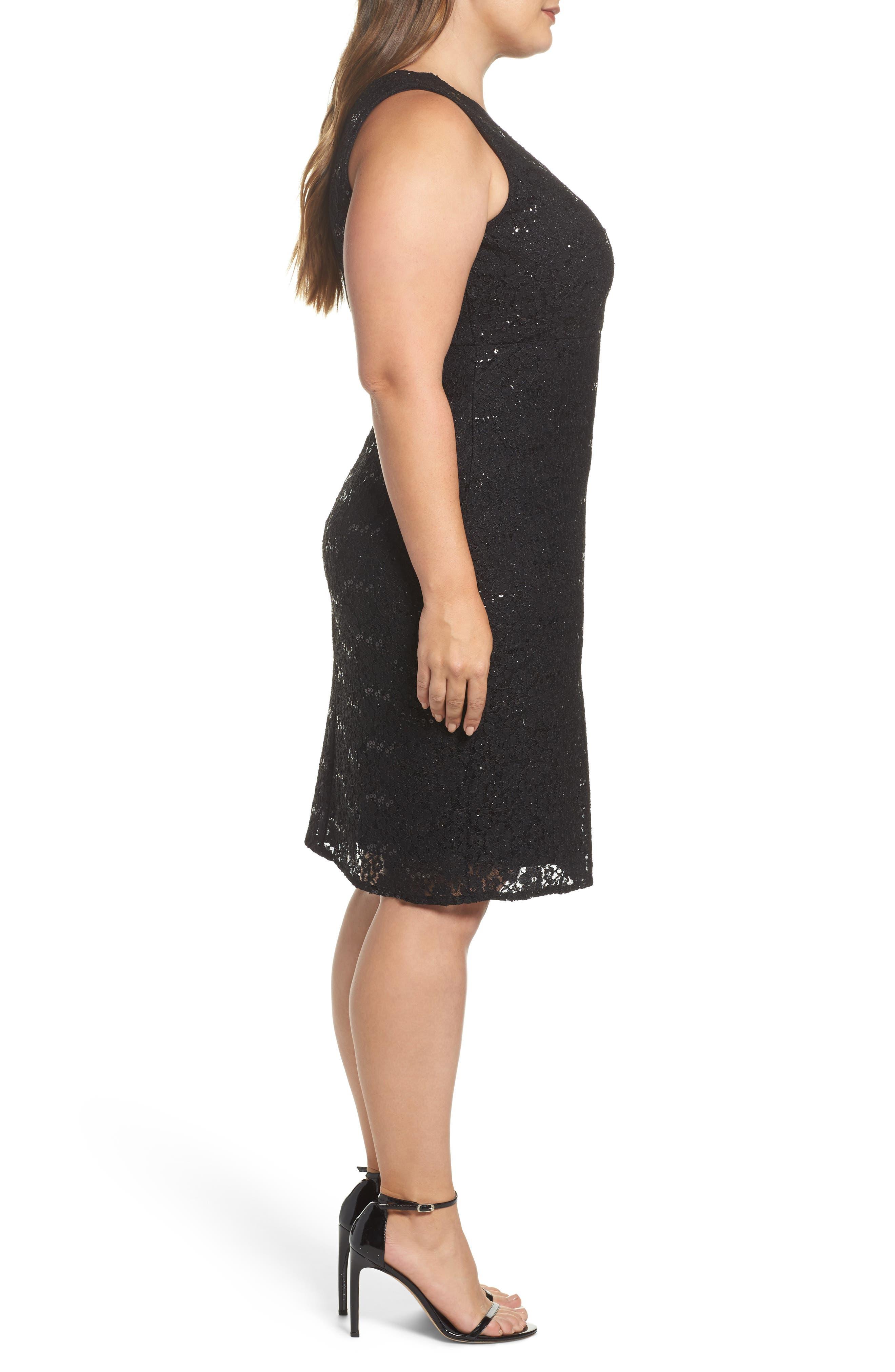 Sequin Lace & Mesh Body-Con Dress,                             Alternate thumbnail 3, color,                             001